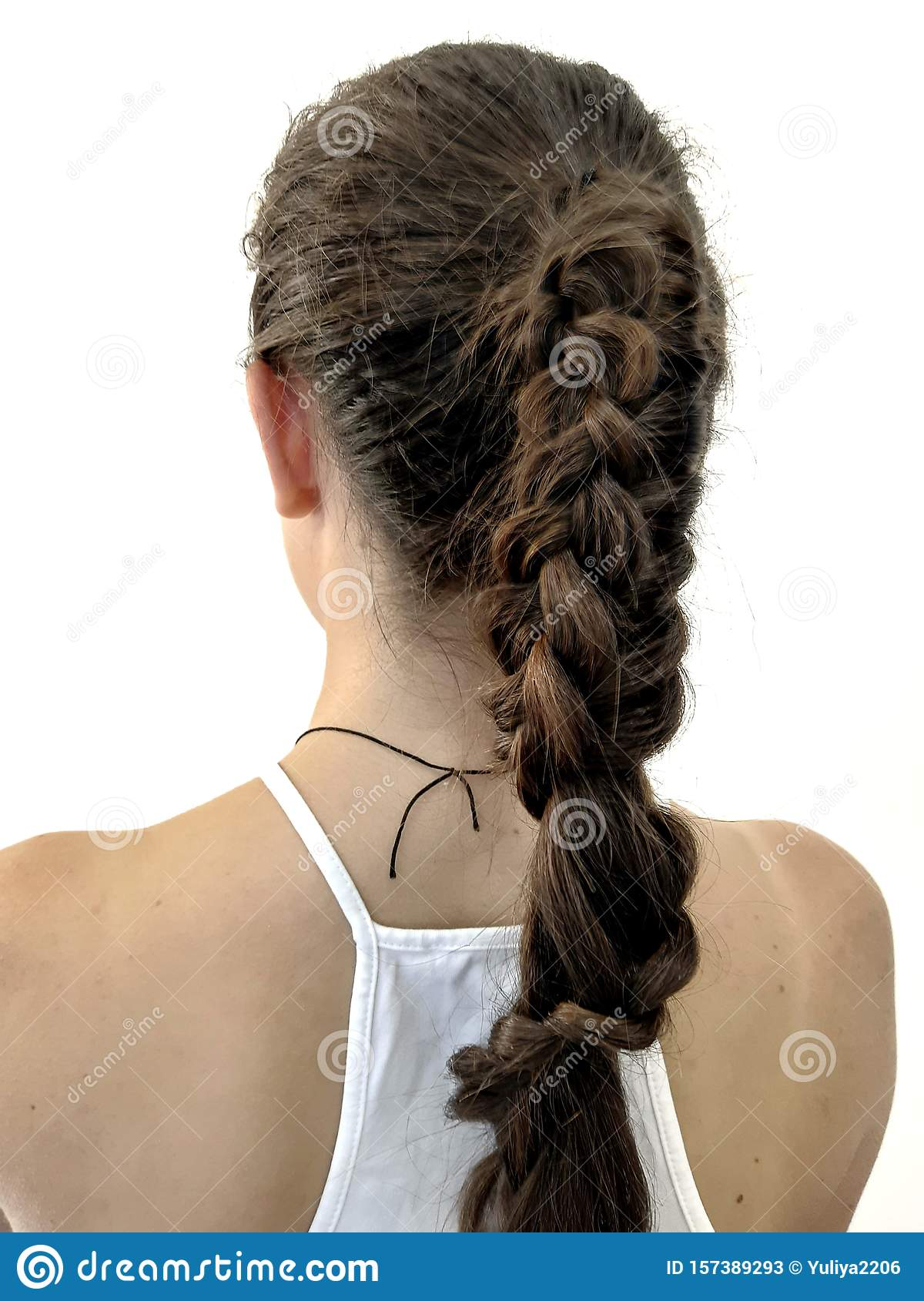 Terrific Hairstyle On Long Hair Braiding Stock Image Image Of Modern Schematic Wiring Diagrams Phreekkolirunnerswayorg
