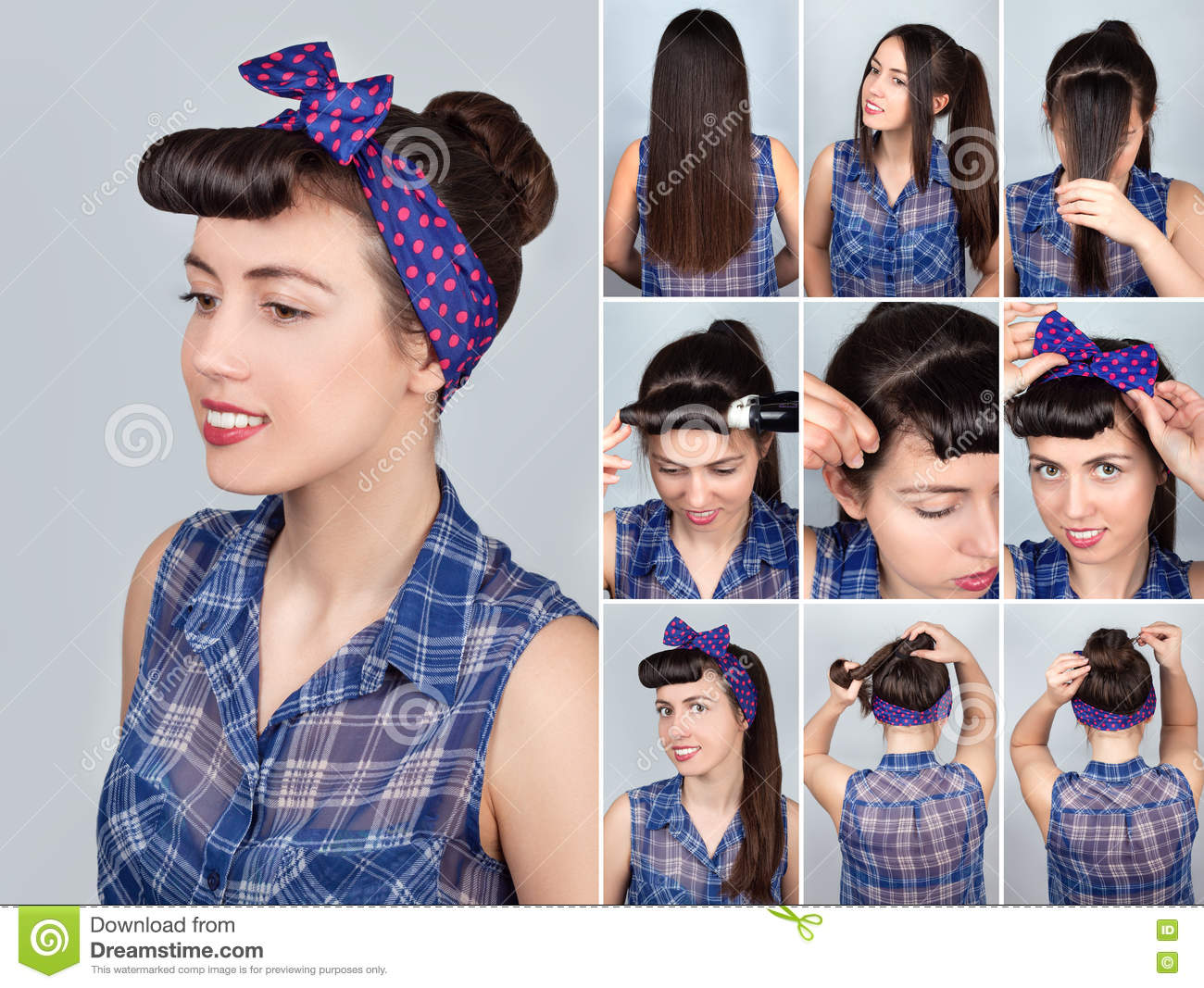 Hairstyle For Long Hair Retro Bun Tutorial Stock Photo Image Of