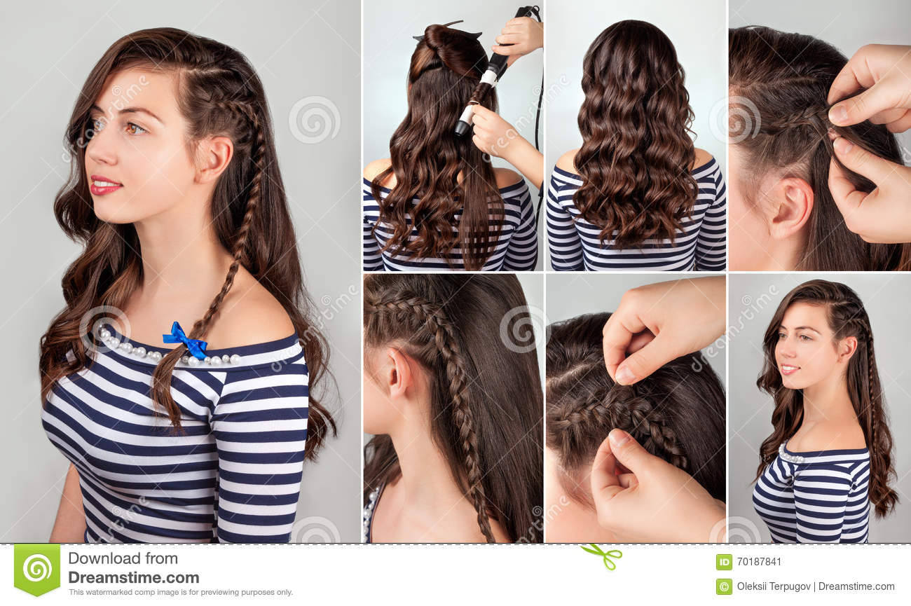 Hairstyle For Long Hair Tutorial Stock Image - Image of hairdo ...