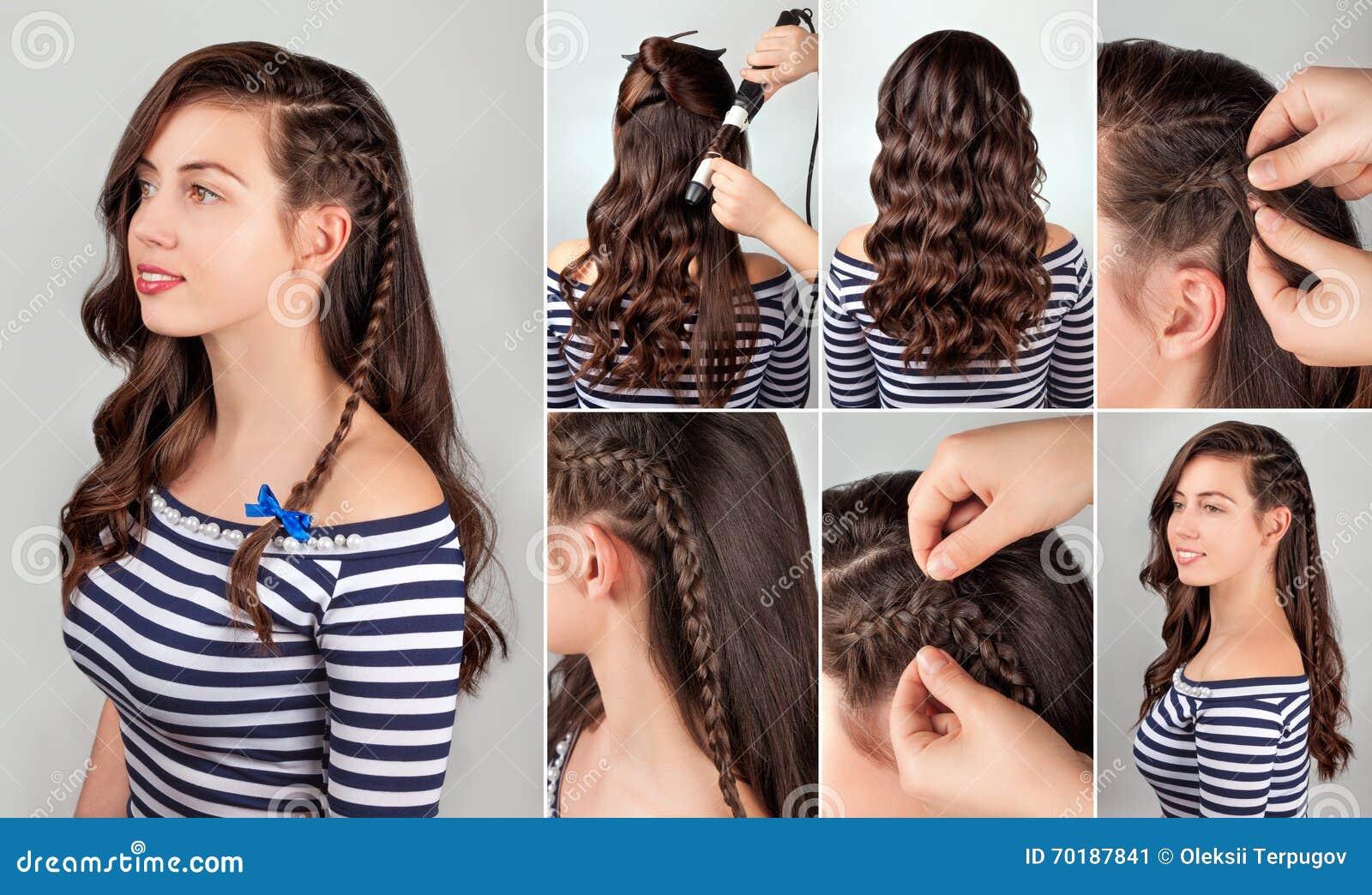 Phenomenal Hairstyle For Long Curly Hair Tutorial Stock Photo Image 70187733 Short Hairstyles Gunalazisus