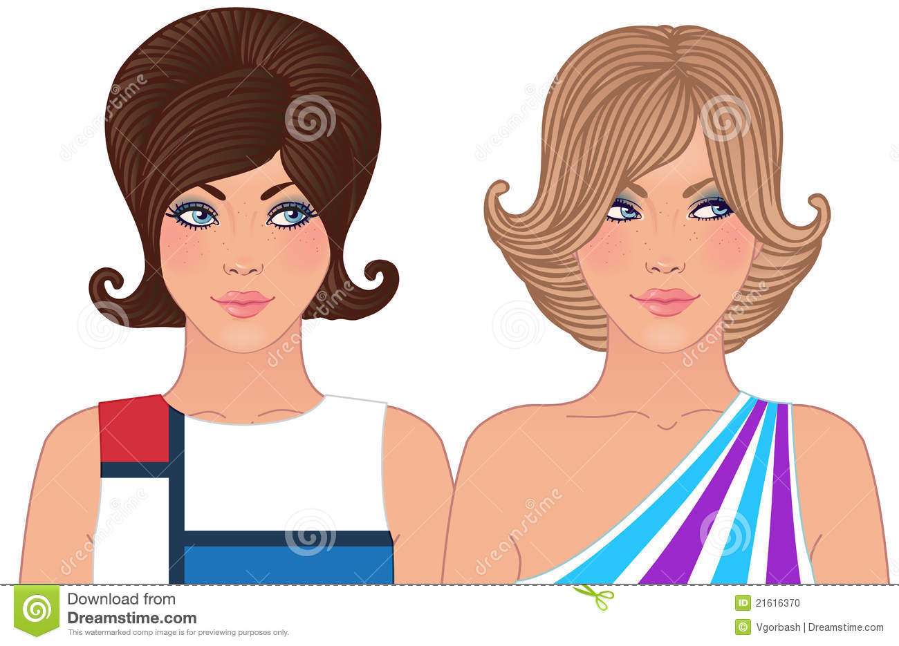 Hairstyle And Makeup Of 1960-1970 Stock Vector