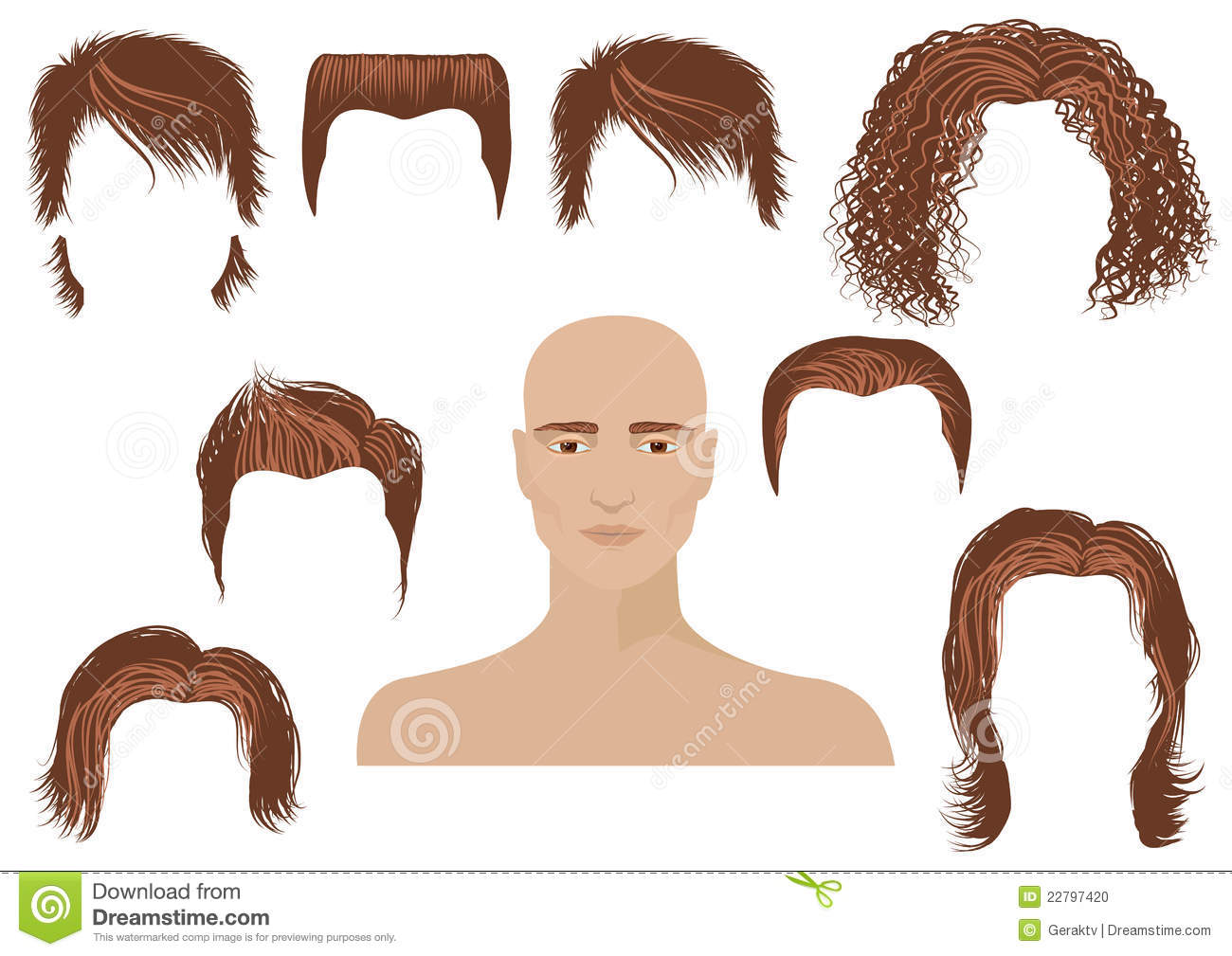 Hairstyle Vector: Hairstyle.Man Face And Set Of Haircuts Stock Vector