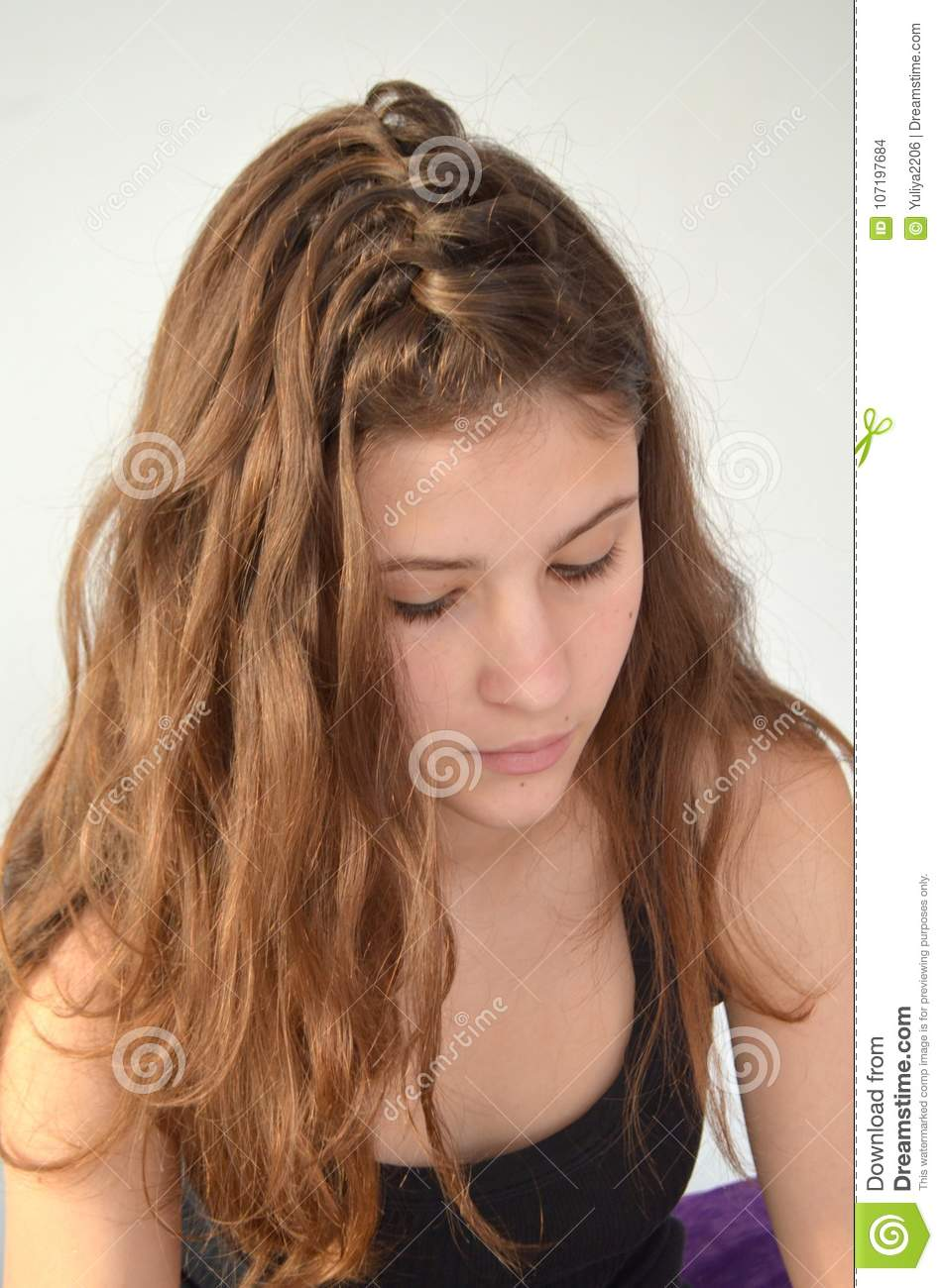 Hairstyle On Medium Length Of Hair Stock Photo Image Of