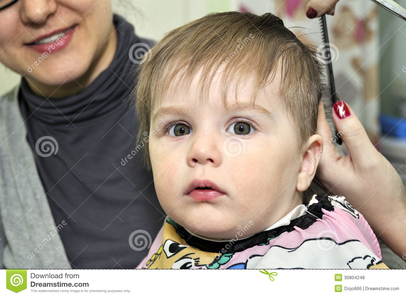 Hairstyle One Year Old Child Stock Photo Image Of Haircut Hands