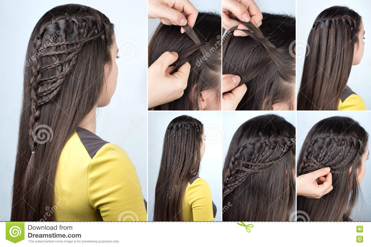 Hairstyle Plaits Tutorial Stock Image Image Of Blogger 82329809