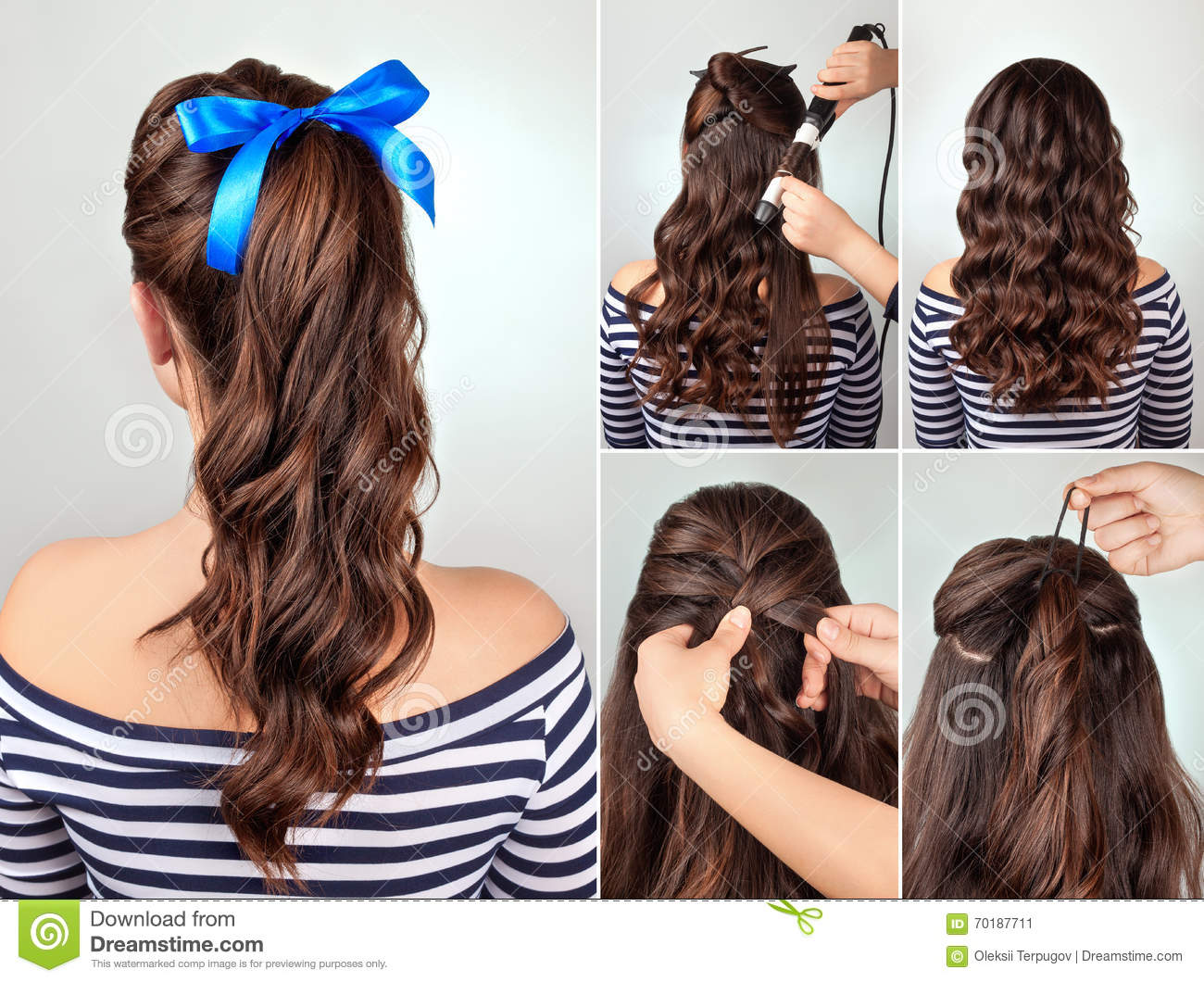 Hairstyle Pony Tail On Curly Hair Tutorial Stock Image ...