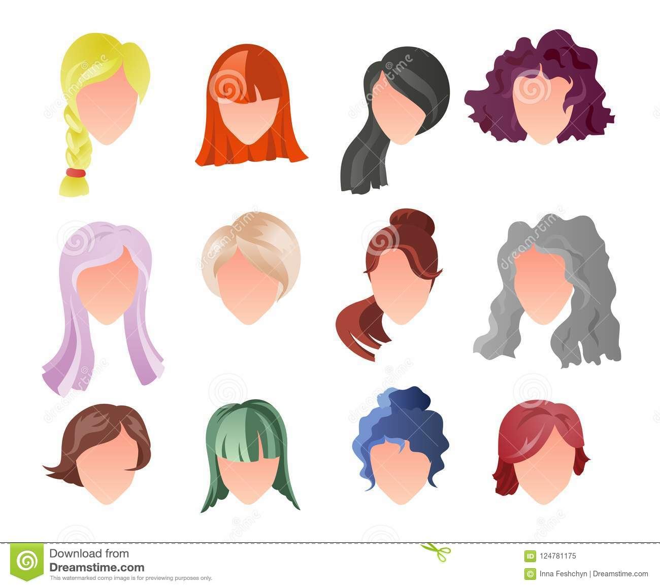 Hairstyle Silhouette Set Woman Girl Female Hair Face Beauty