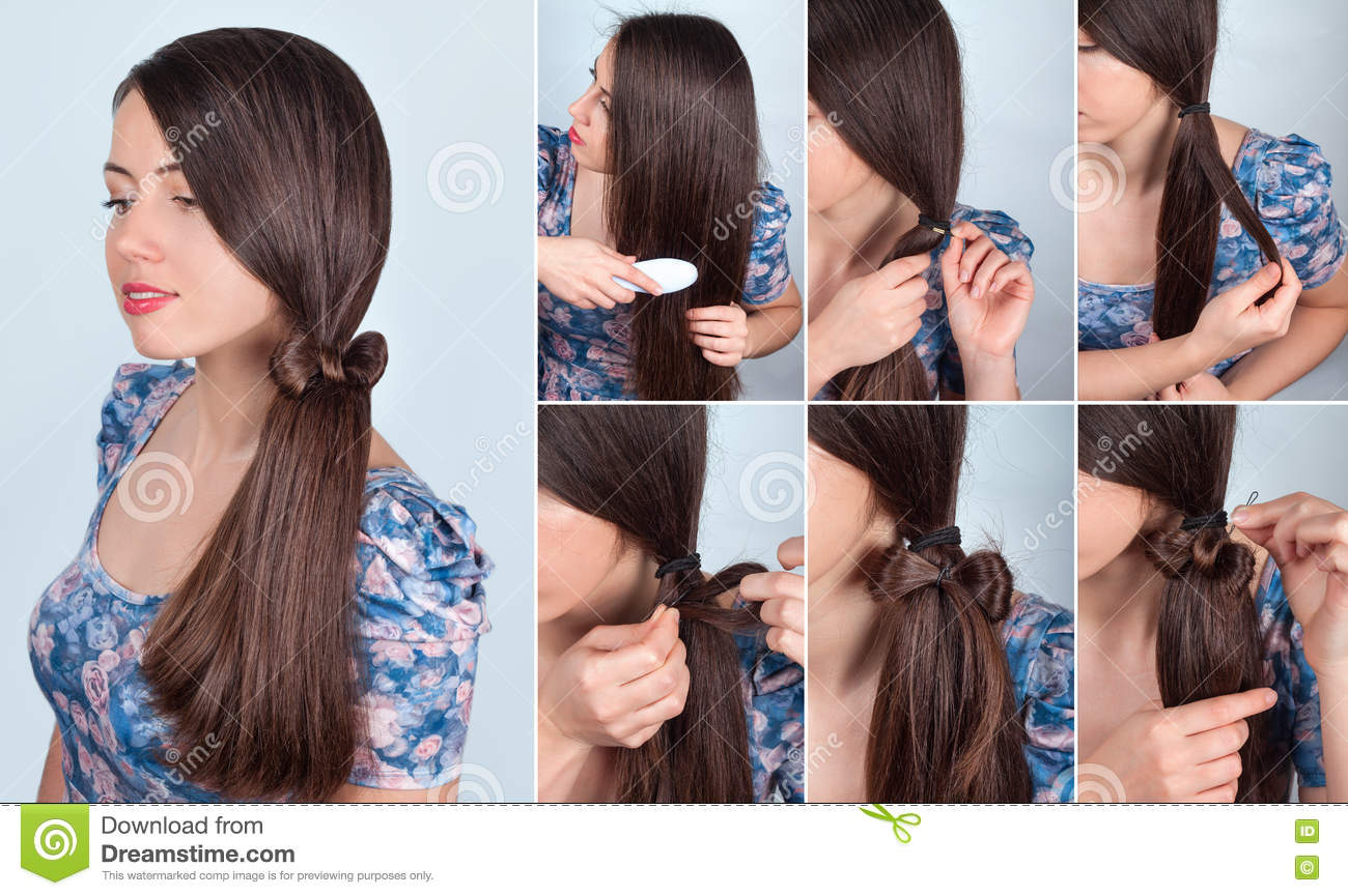 Hairstyle tail with bow for long hair tutorial