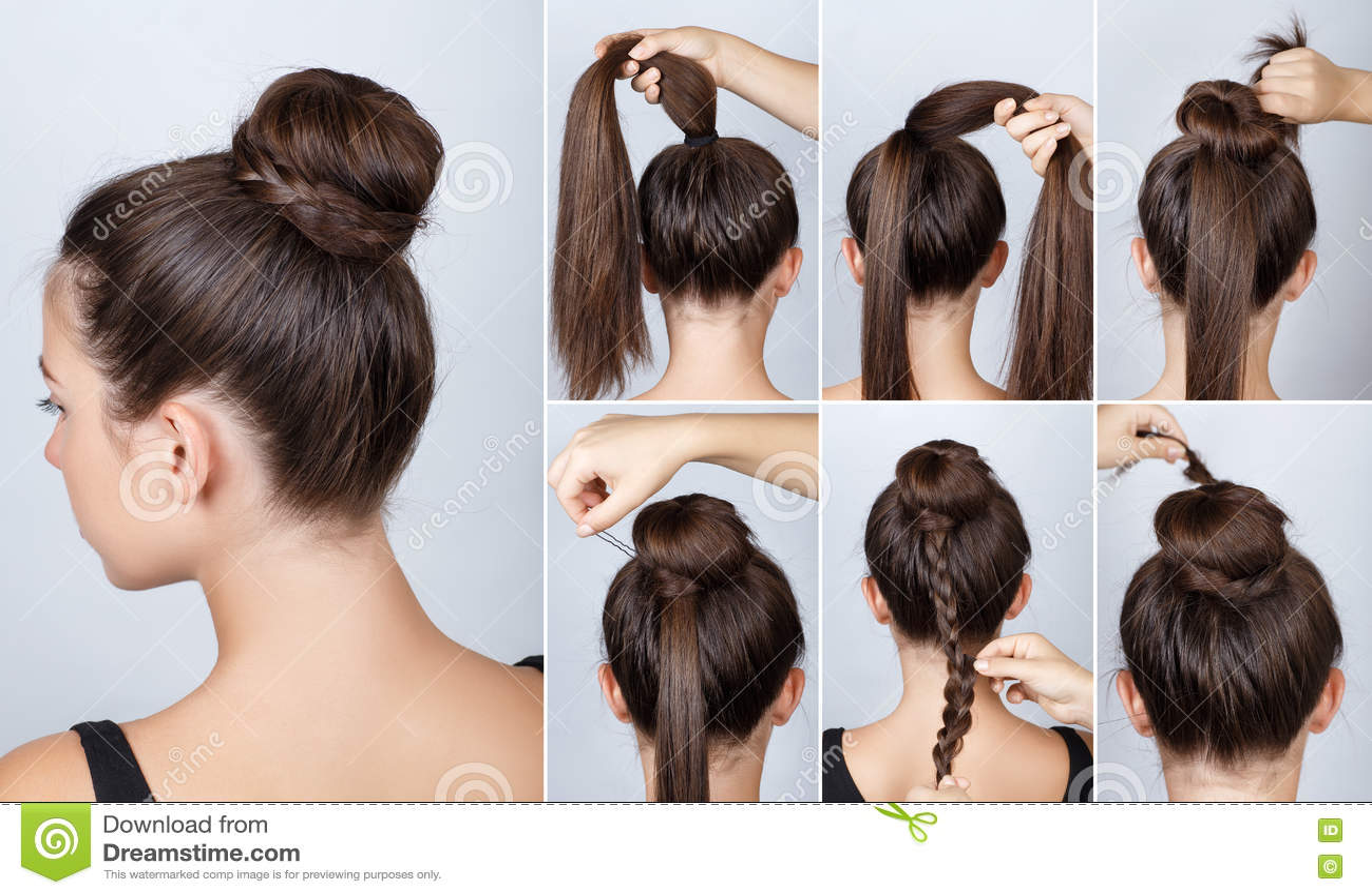 Hairstyle Tutorial Elegant Bun With Braid Stock Image ...