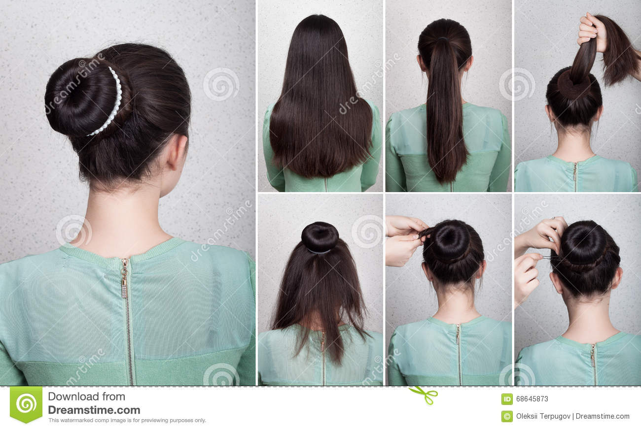 Hairstyle Tutorial Elegant Bun With Chignon Stock Image Image Of