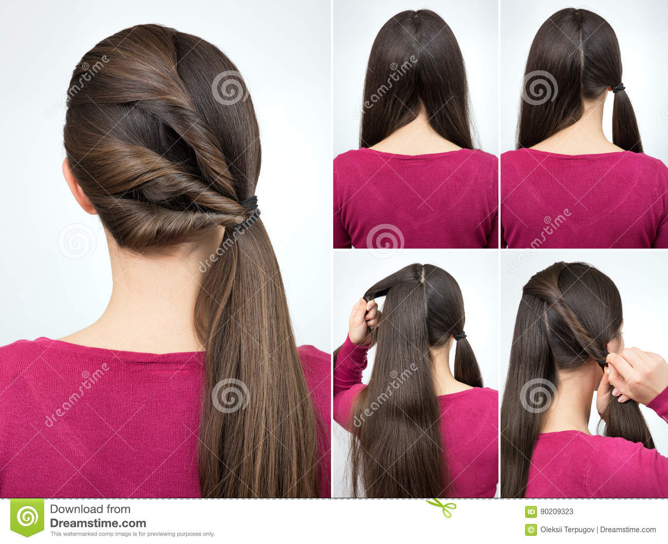 Hairstyle Twisted Pony Tail Tutorial Stock Image Image Of