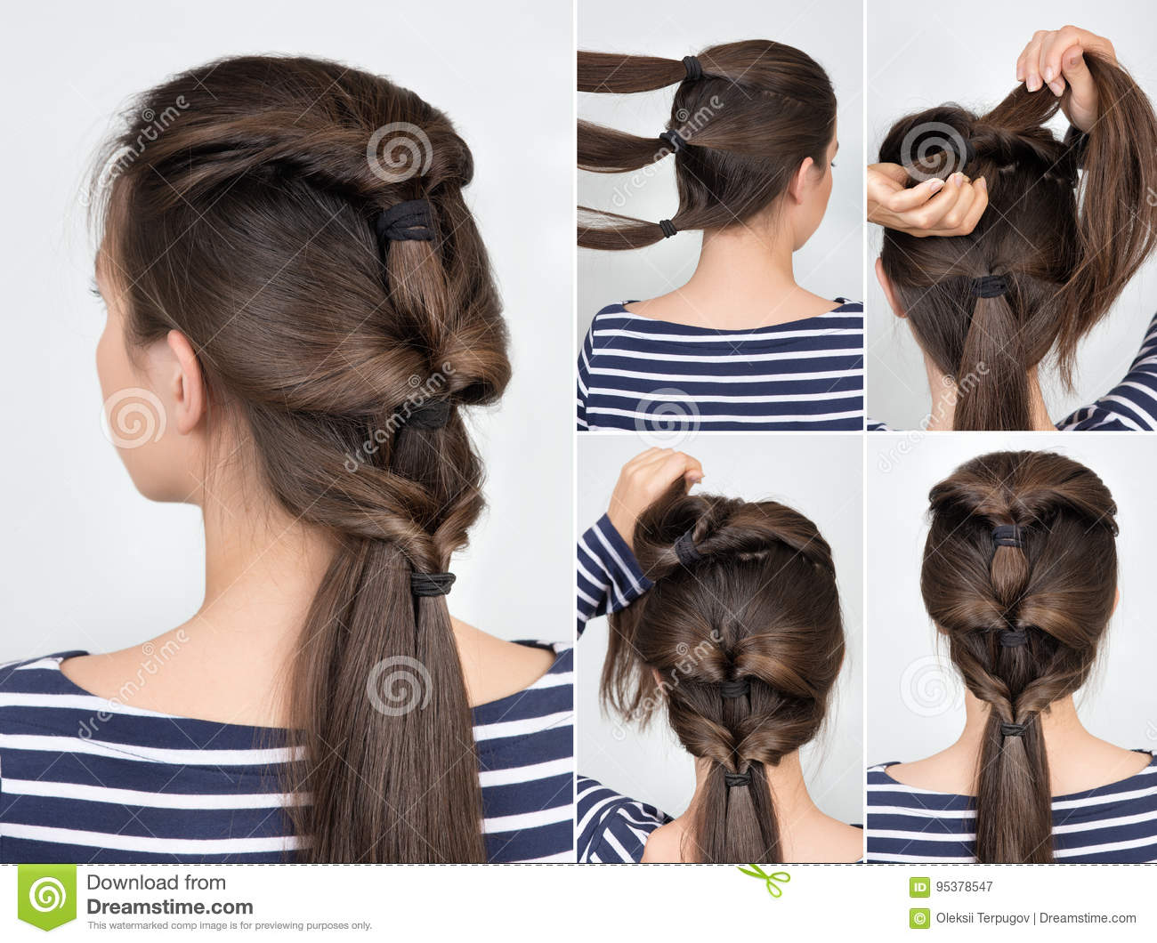 Hairstyle Twisted Pony Tail Tutorial Stock Image Image Of Beauty