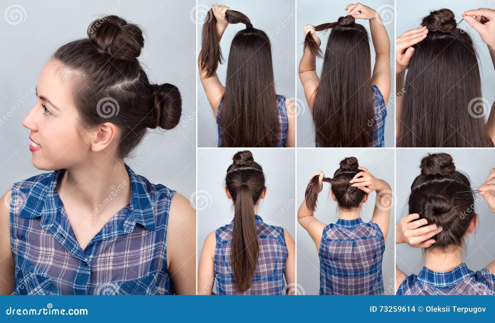 Hairstyle two bun tutorial stock photo. Image of easy - 73259614
