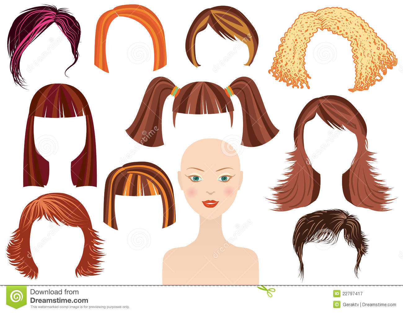 Hairstyle Woman Face And Set Of Haircuts Royalty Free