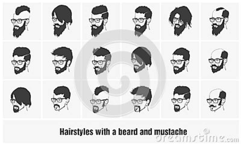Hairstyles Beard And Hair Face Cut Young Man Doodle