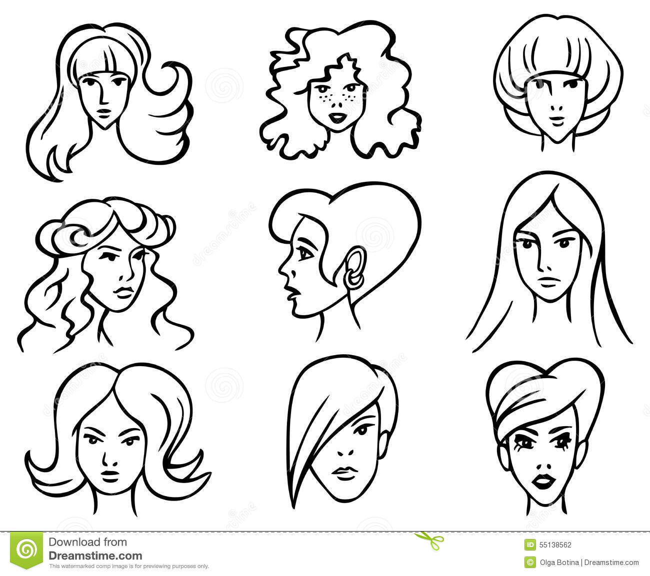 Hairstyles Stock Vector Illustration Of Model Hairstyle 55138562