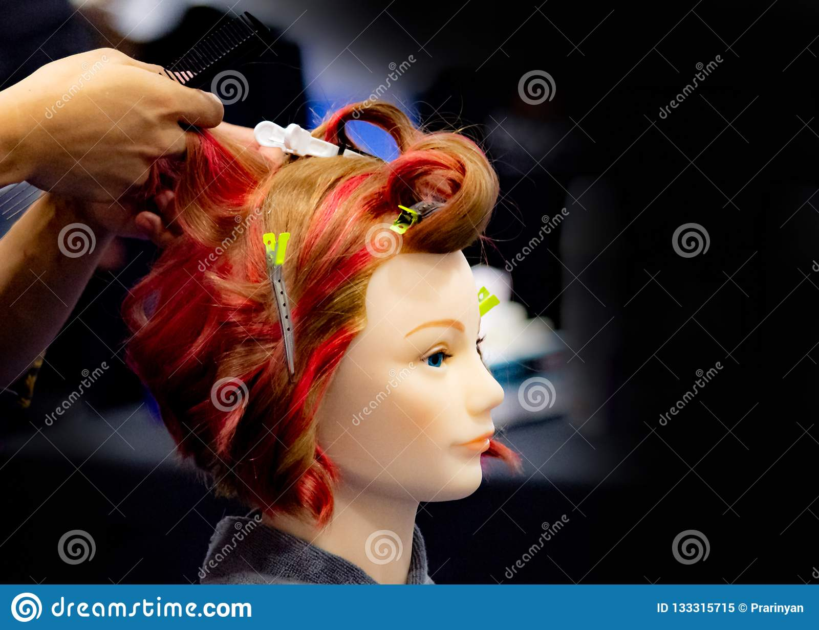 Hairstyles On Dummy Head Of Hair Salon Stock Image - Image of ...