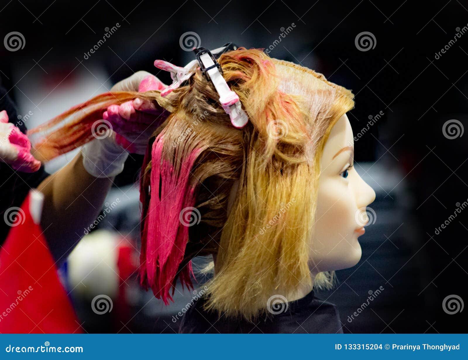 Hairstyles on dummy head of hair salon
