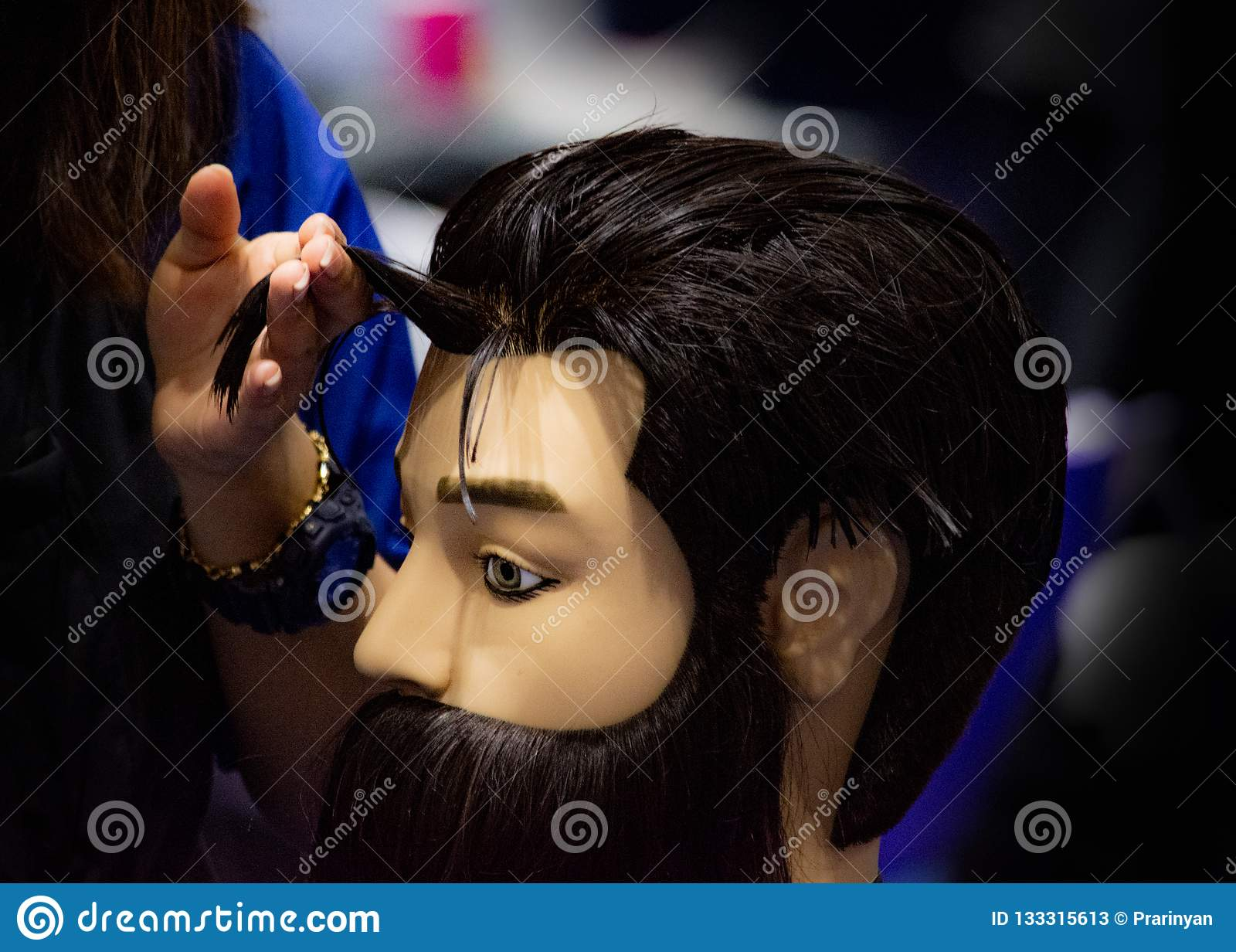 Hairstyles On Dummy Head Of Hair Salon Stock Image - Image of doll ...