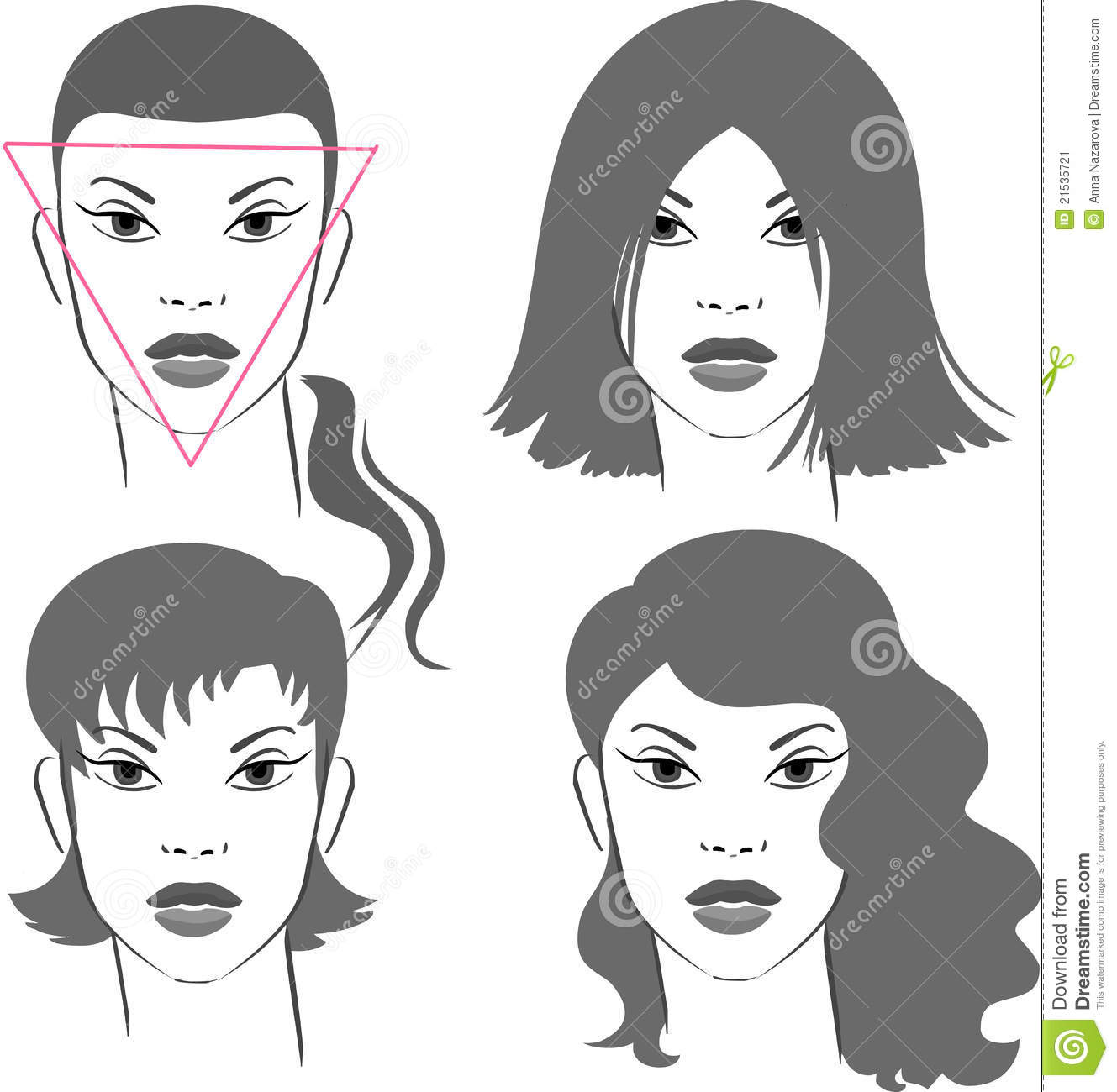 Haircuts For Triangular Faces: Hairstyles For Triangular Face Stock Vector