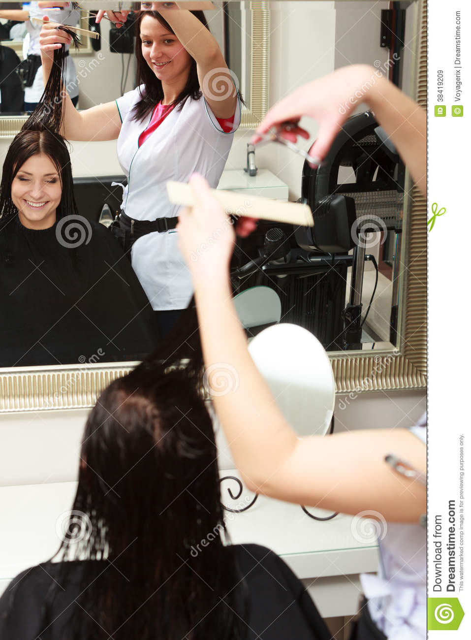 Hairstylist cutting hair woman client in hairdressing for Hair salon 2