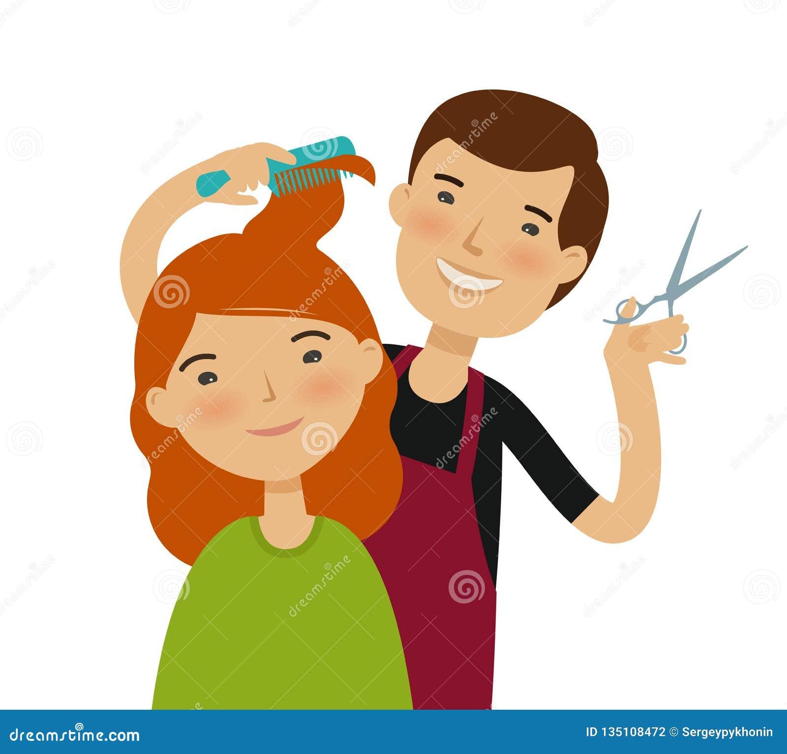 Hairstylist Cutting Hair. Women`s Haircut, Beauty Saloon ...