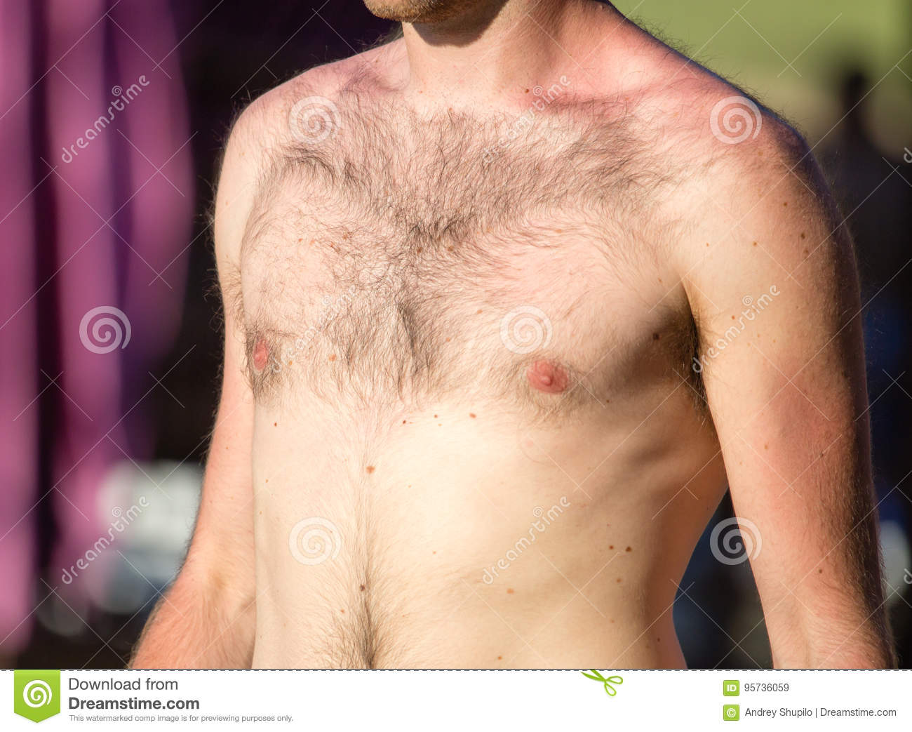 Naked Hairy Grandpa Simple hairy chest stock photos - royalty free pictures