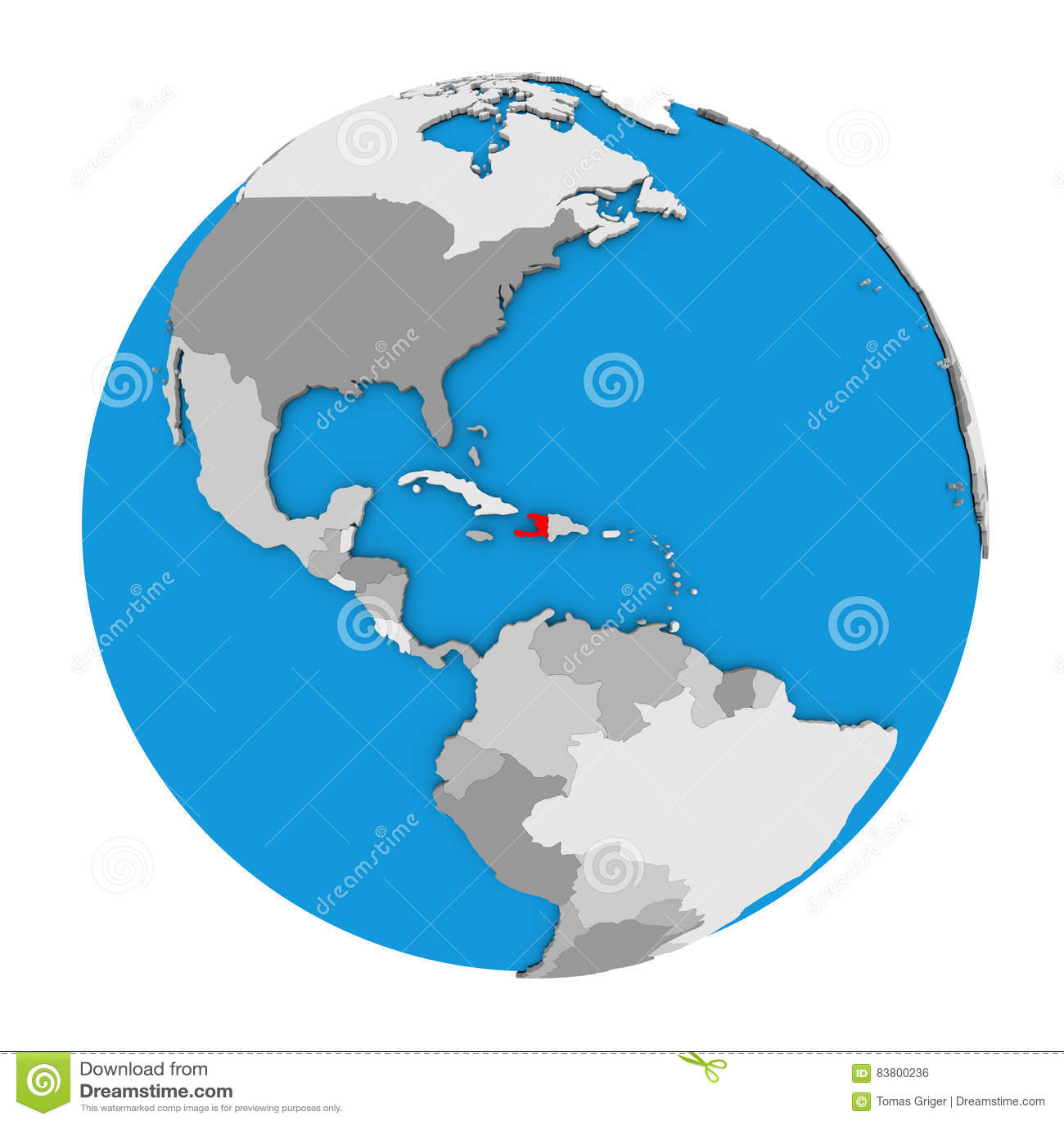 Haiti On Globe Stock Illustration Illustration Of Hispaniola 83800236