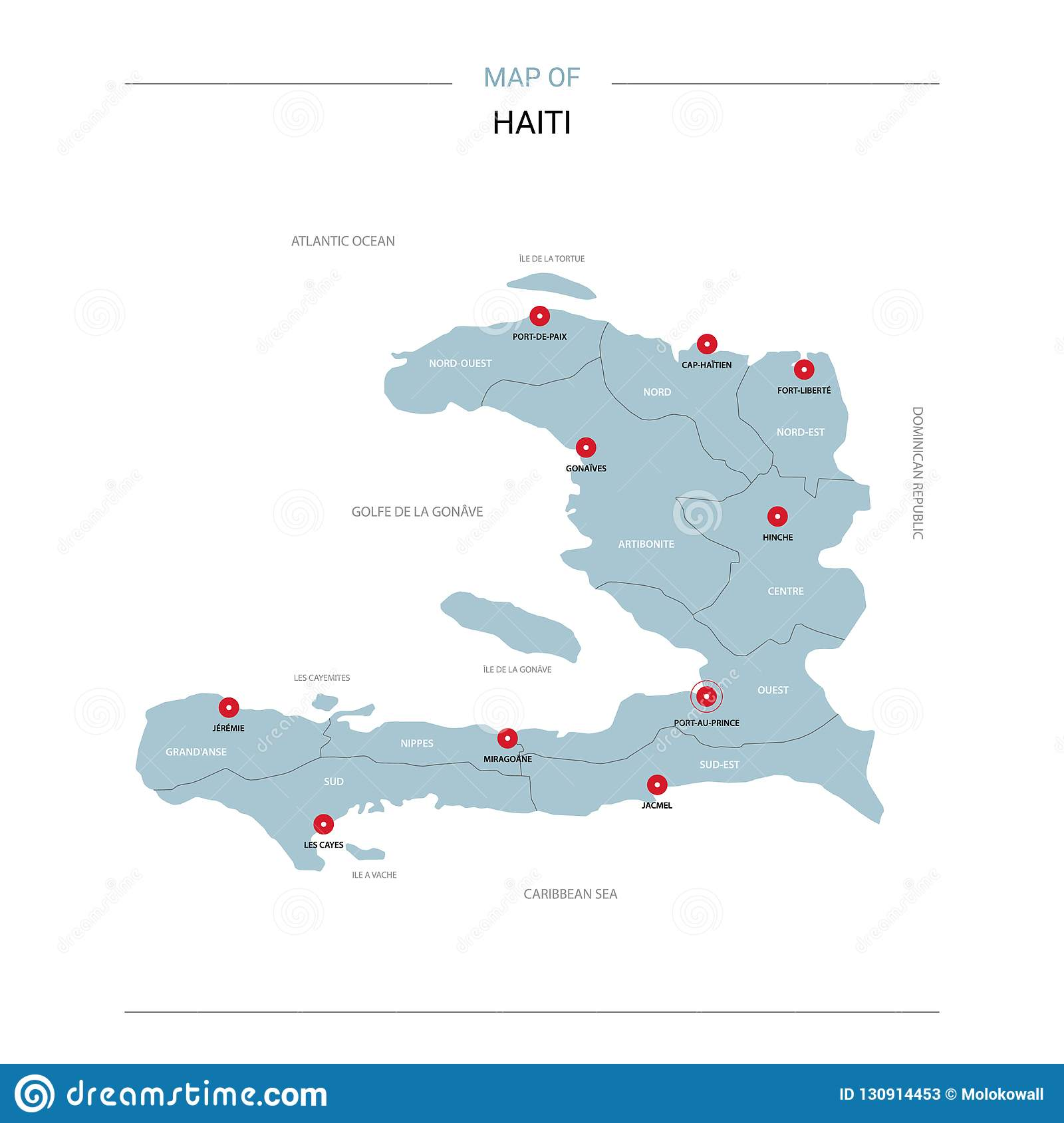Haiti Map Vector With Red Pin. Stock Vector - Illustration of ...