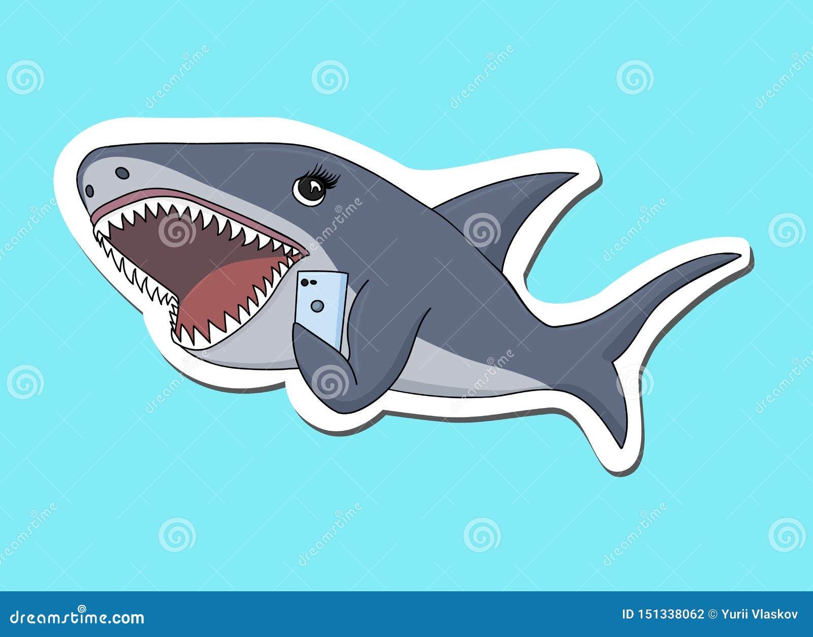 Haj som pratar på mobiltelefonen