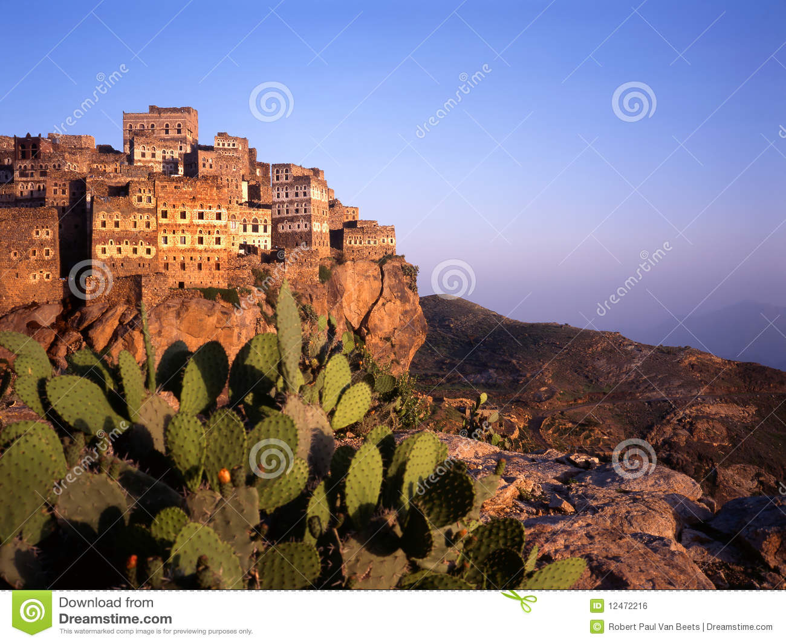 Hajjarrah όψη Υεμένη ηλιοβασιλέμα&