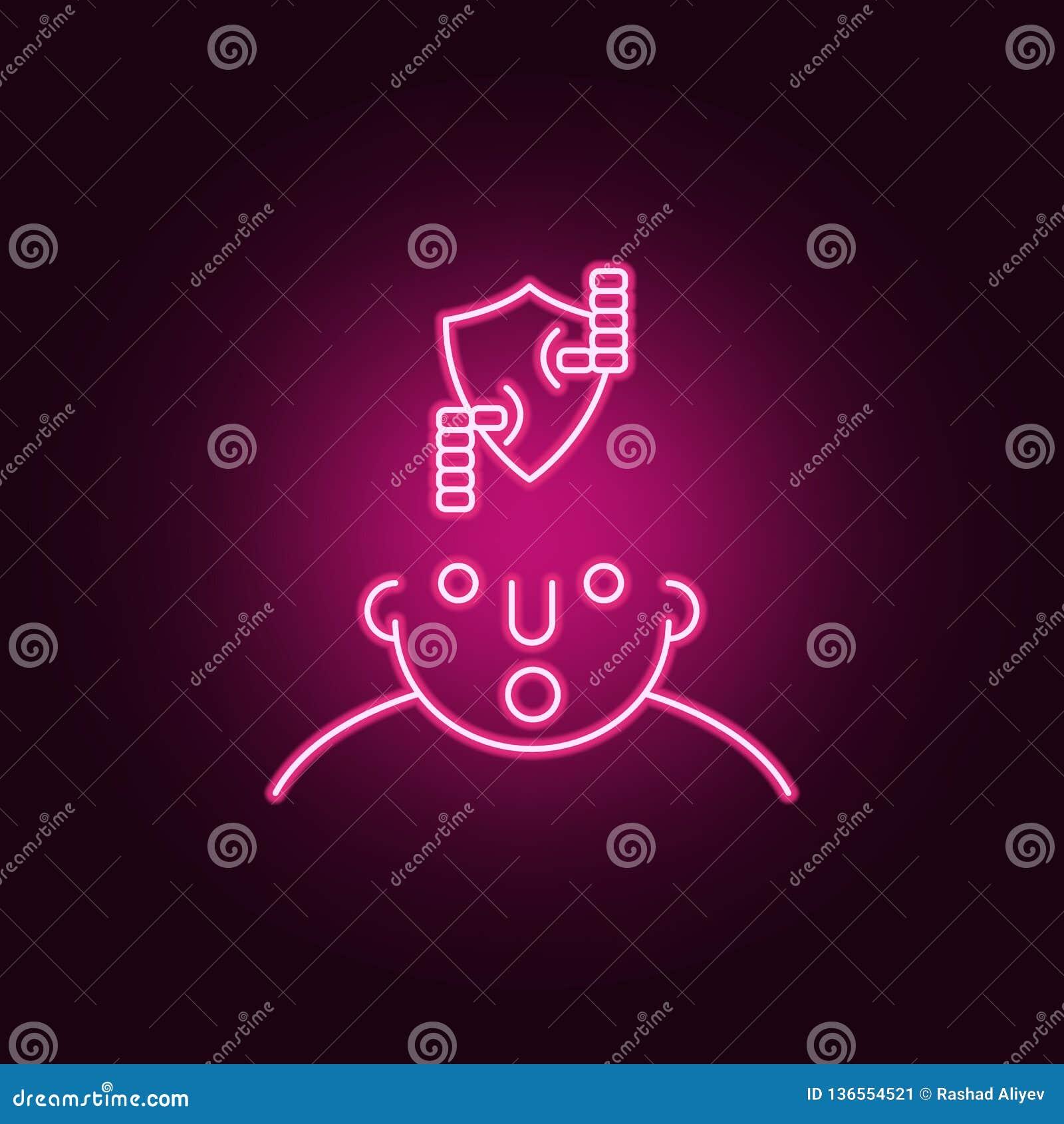 Hakker op meningspictogram Elementen van wat in uw mening in de pictogrammen van de neonstijl is Eenvoudig pictogram voor website