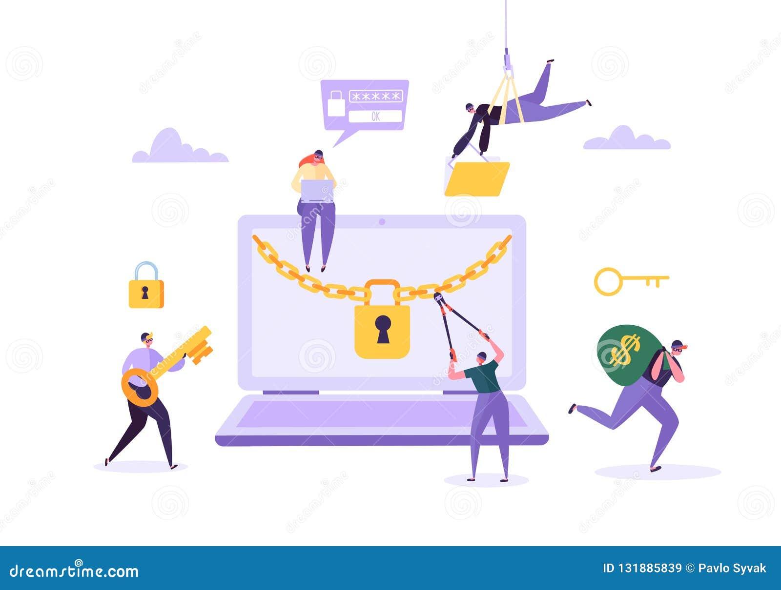 Hakker Stealing Wachtwoord en Geld van Laptop Dief Characters Hacking Computer Visserijaanval, Financiële Fraude