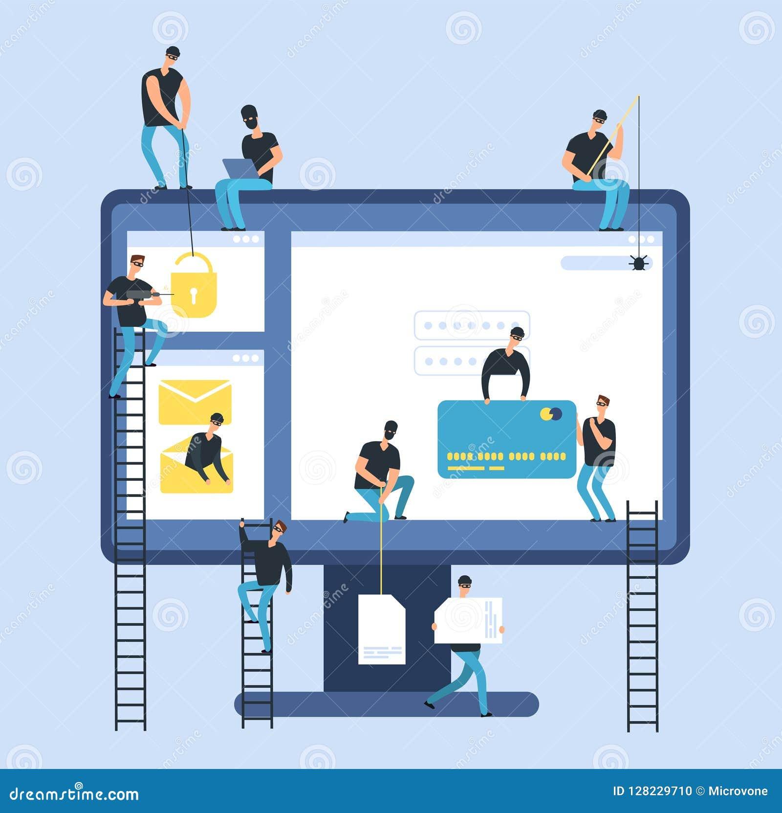 Hakkers Cyberdief die gegevens van de computer de vertrouwelijke bank roven Hakkeridentiteit en het vectorconcept van het geldris