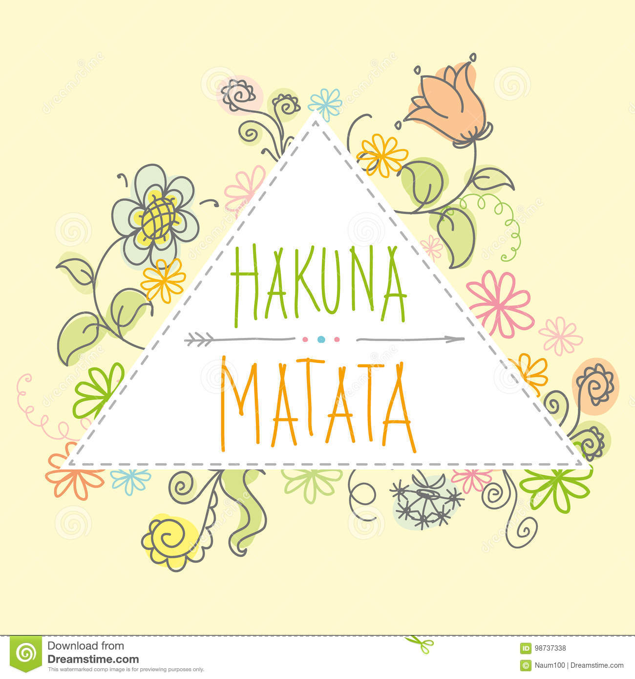 Hakuna Matata No Worrieslettering With Floral Elements Stock