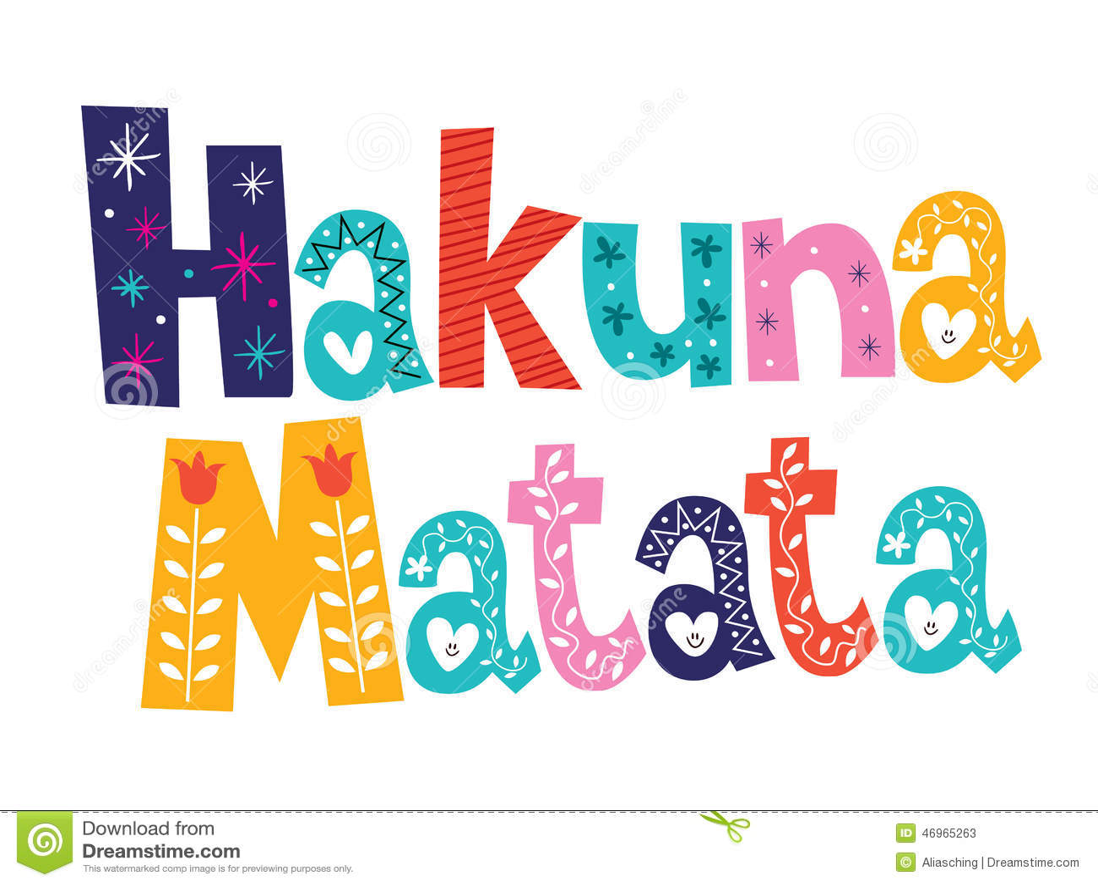 Hakuna Matata Stock Image Image Of White Quote Positive 46965263