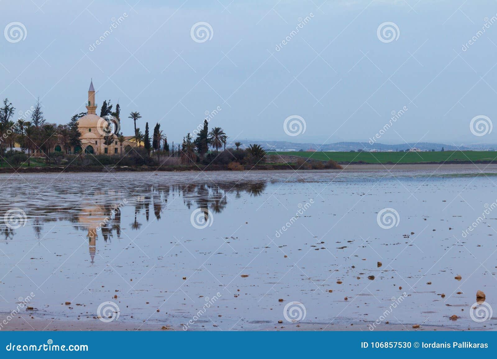 Hala Sultan Tekke på den Larnaca salt-sjön i det Cypern landskapet