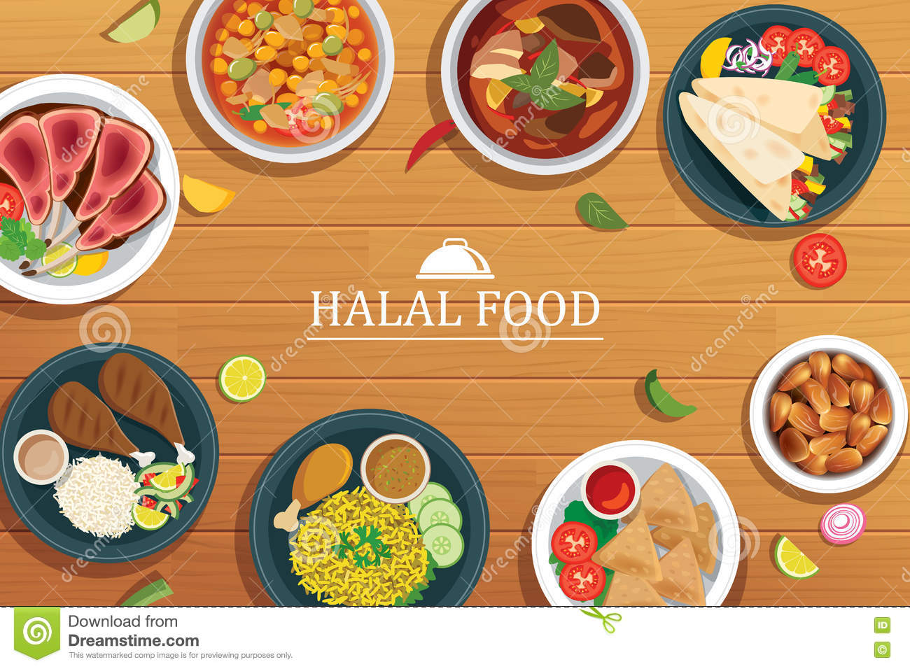 Halal Food On A Wooden Background. Stock Vector - Image: 75786473