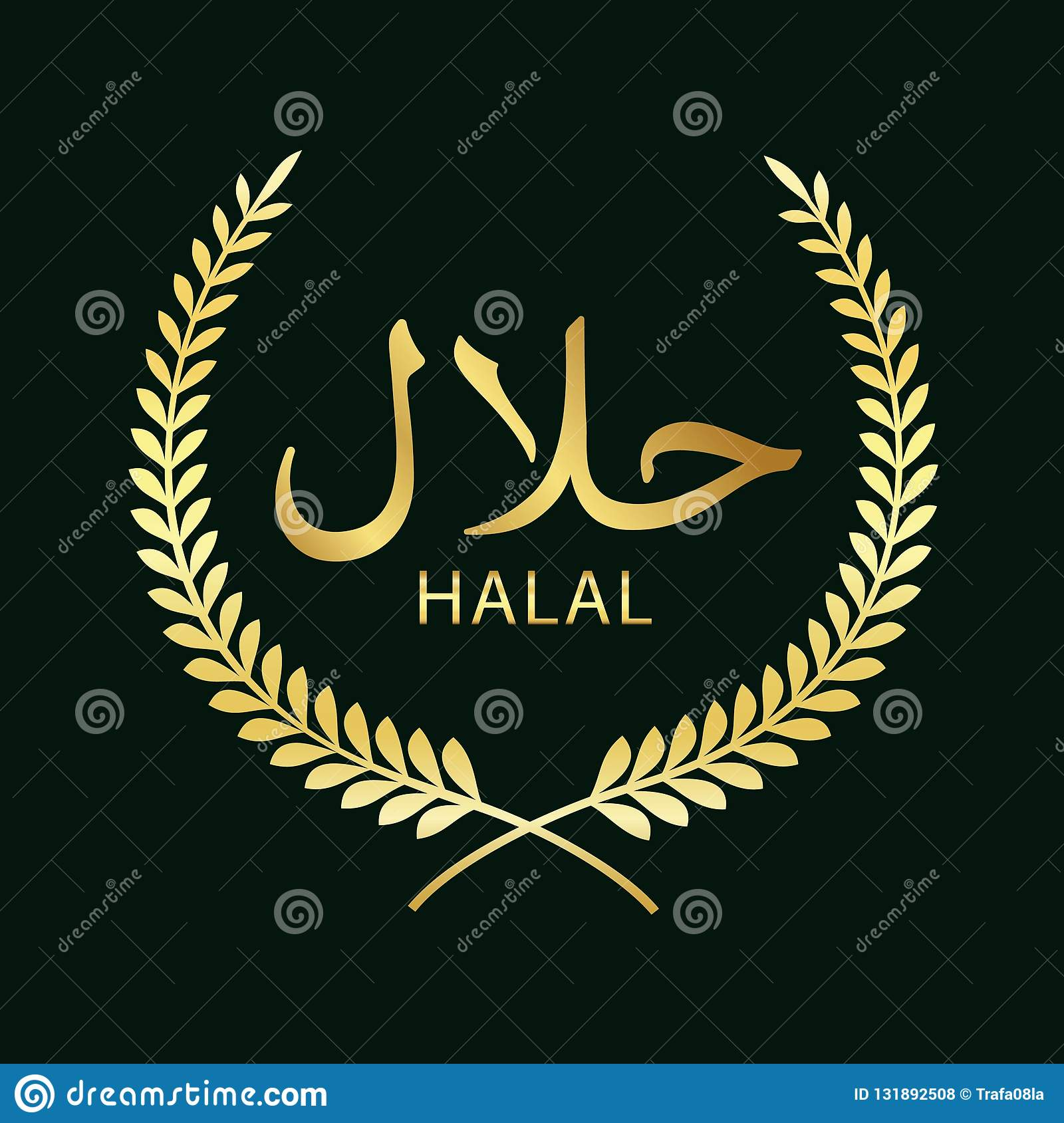 Halal Sign Design  Halal Certificate Tag  Stock Illustration