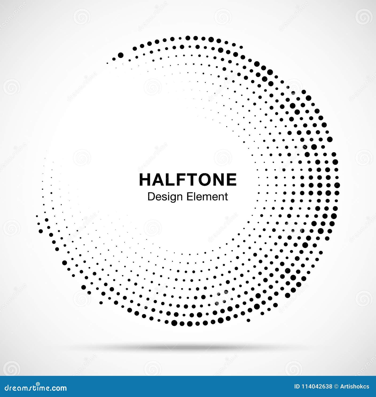 Halbtonkreisrahmen mit schwarzen abstrakten gelegentlichen Punkten, Logoemblem für Technologie, medizinisch, Behandlung, Kosmetik