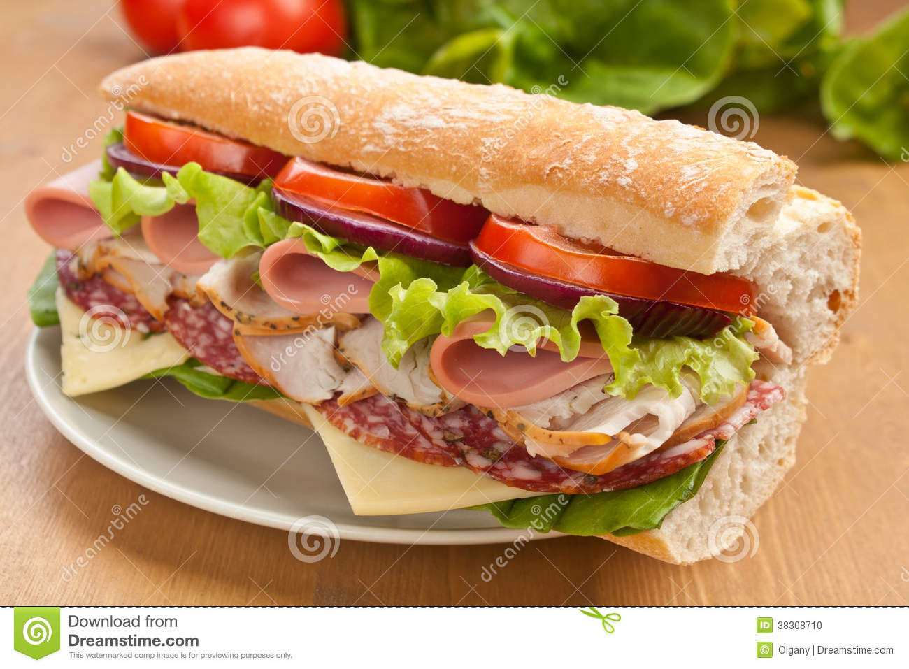 Half of long tasty subway baguette sandwich with lettuce, tomatoes ...