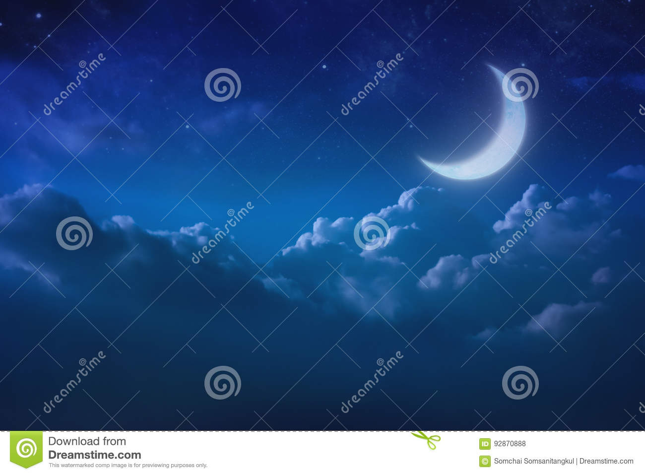Half blue moon behind cloudy on sky and star at night. Outdoors