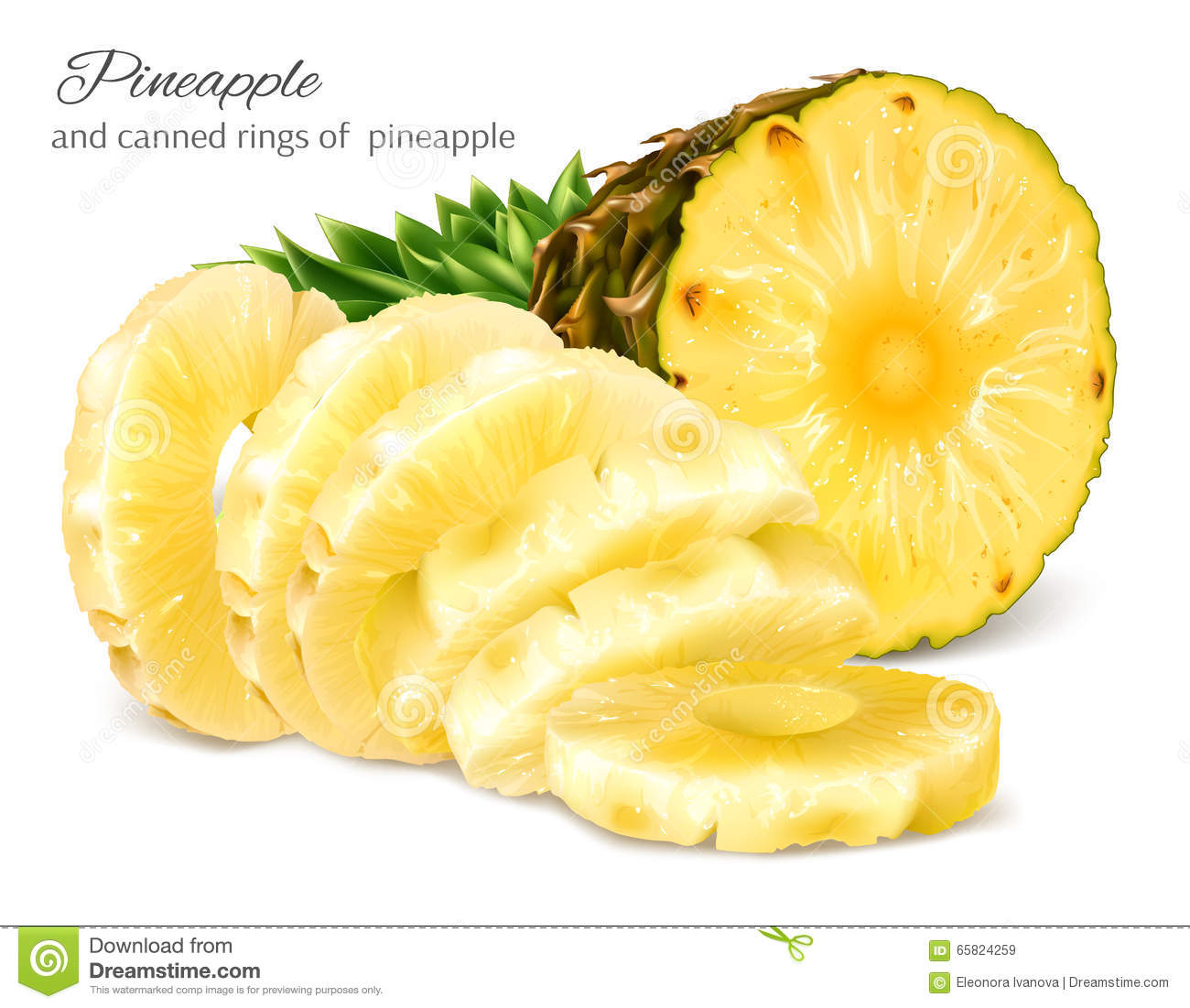 Half cut and canned sliced pineapple.