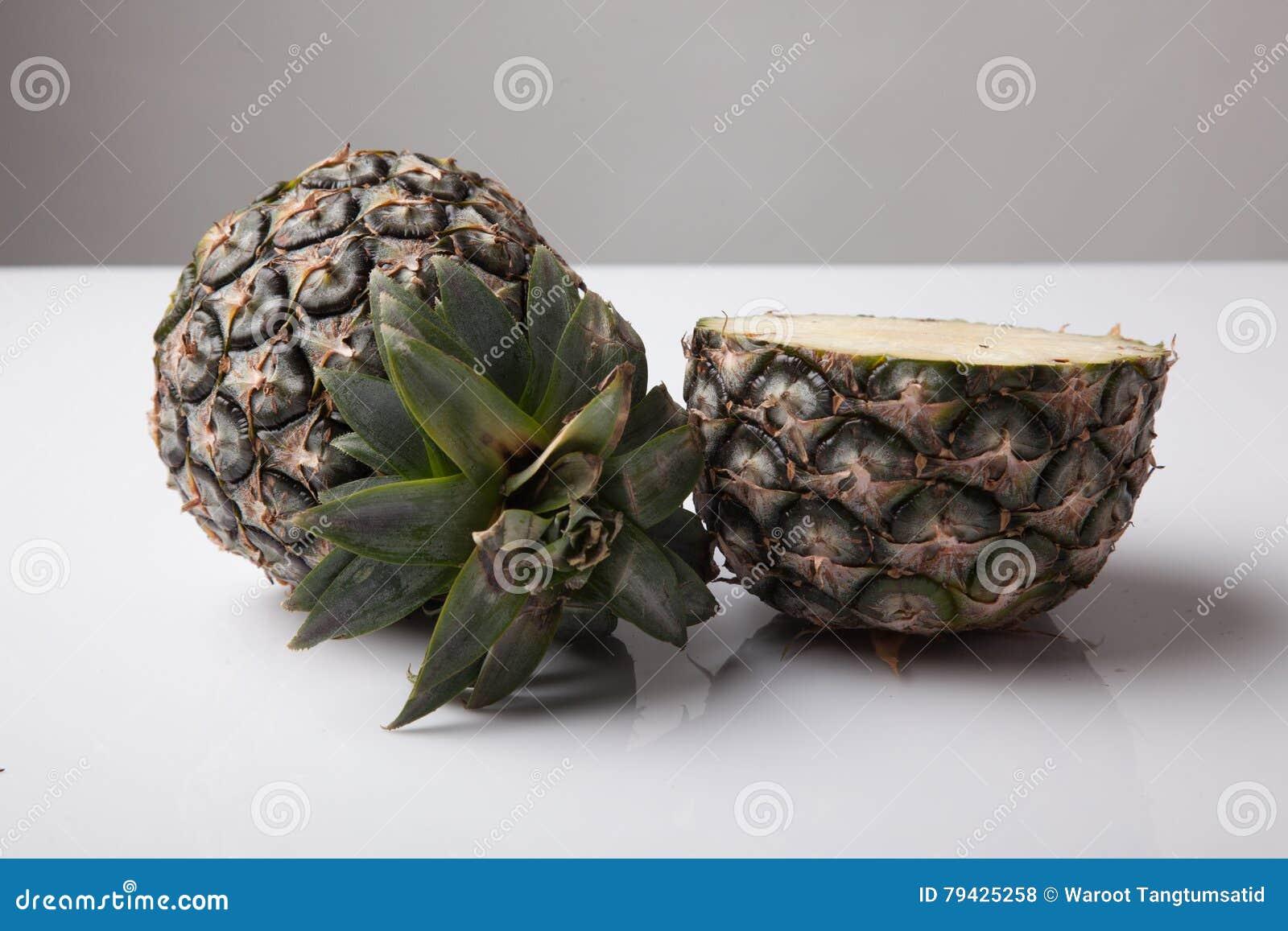 Awe Inspiring Half Cut Fresh Pineapple Stock Photo Image 79425258 Hairstyle Inspiration Daily Dogsangcom