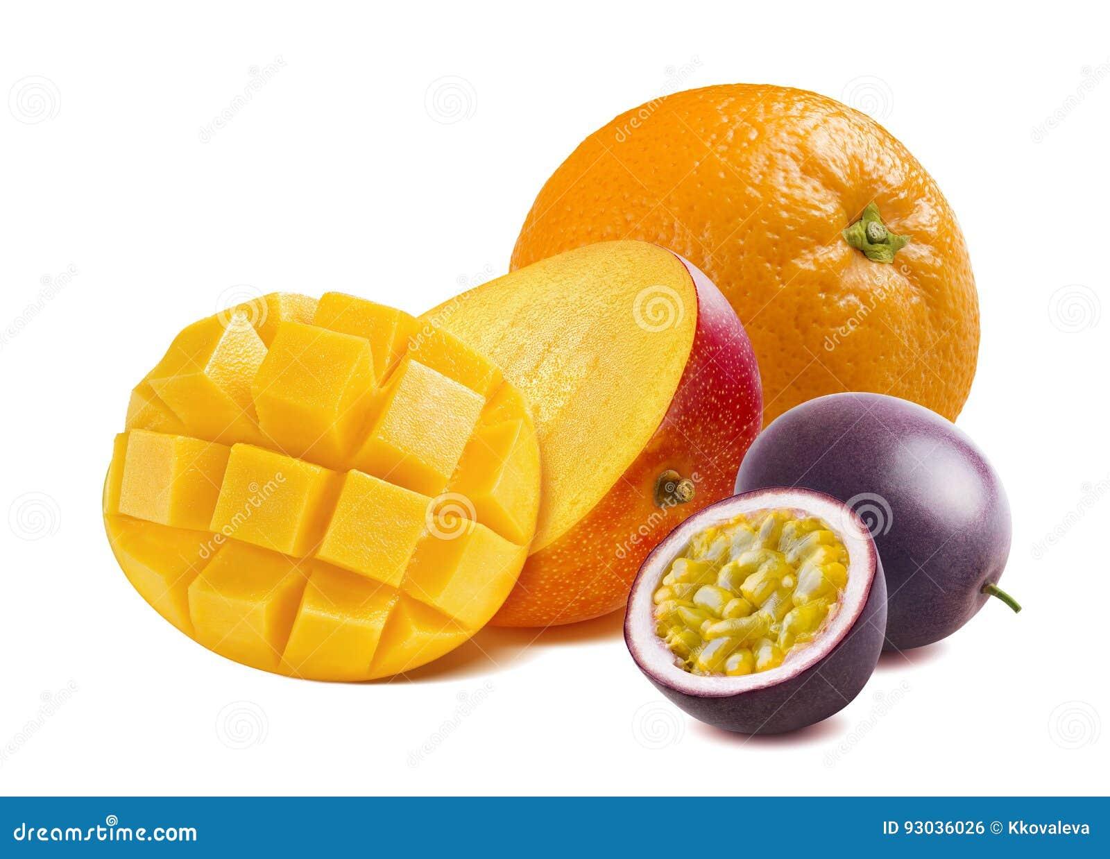 Half Cut Mango Orange And Passion Fruit Isolated Stock Photo