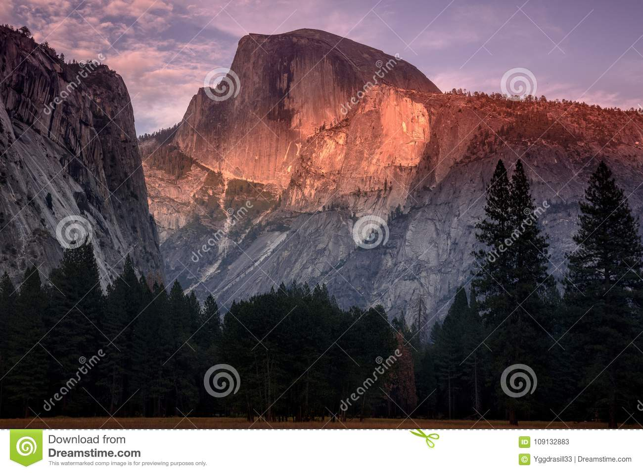 The Half dome on fire at sunset
