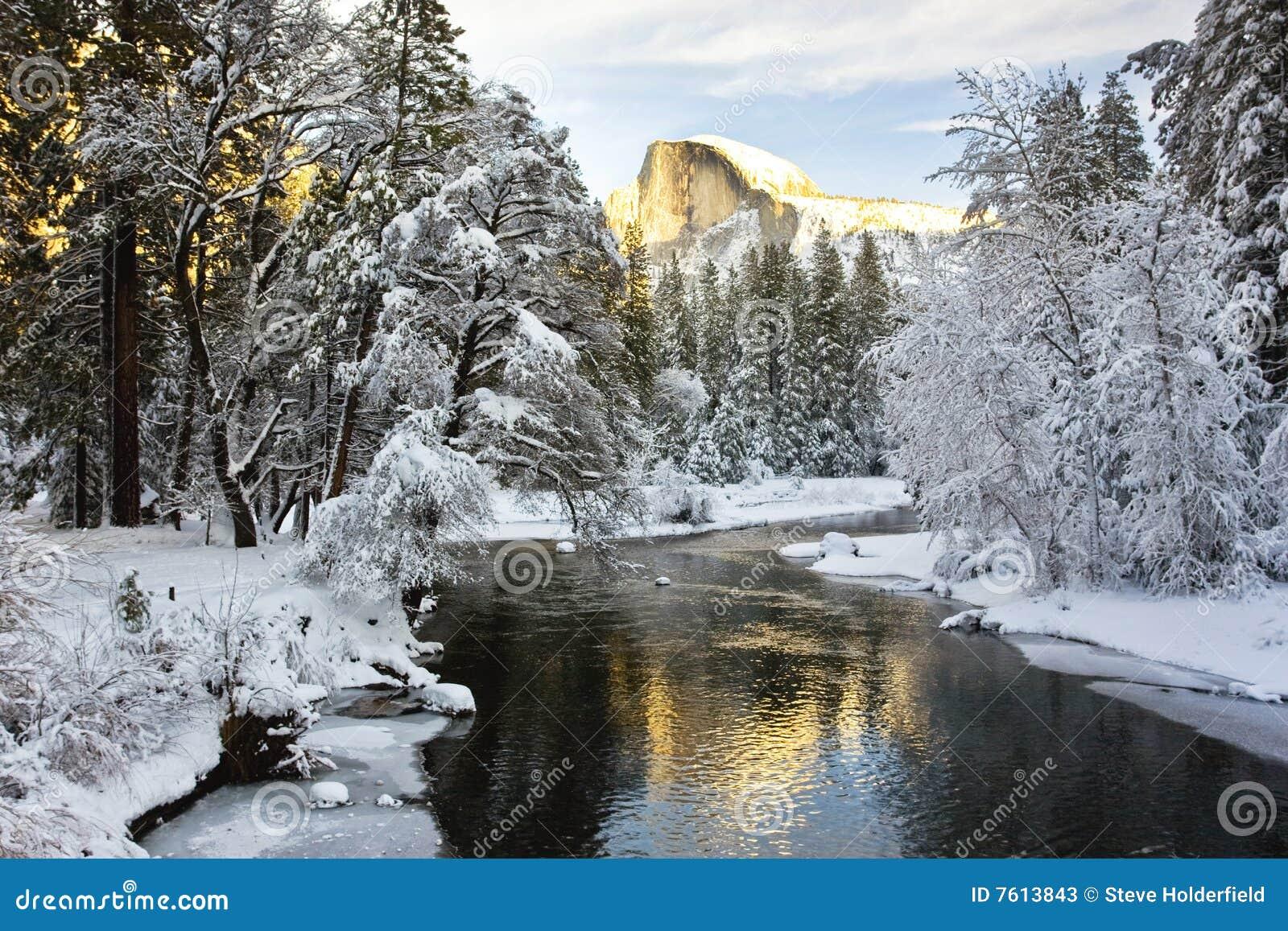 Half Dome over a frozen Merced River