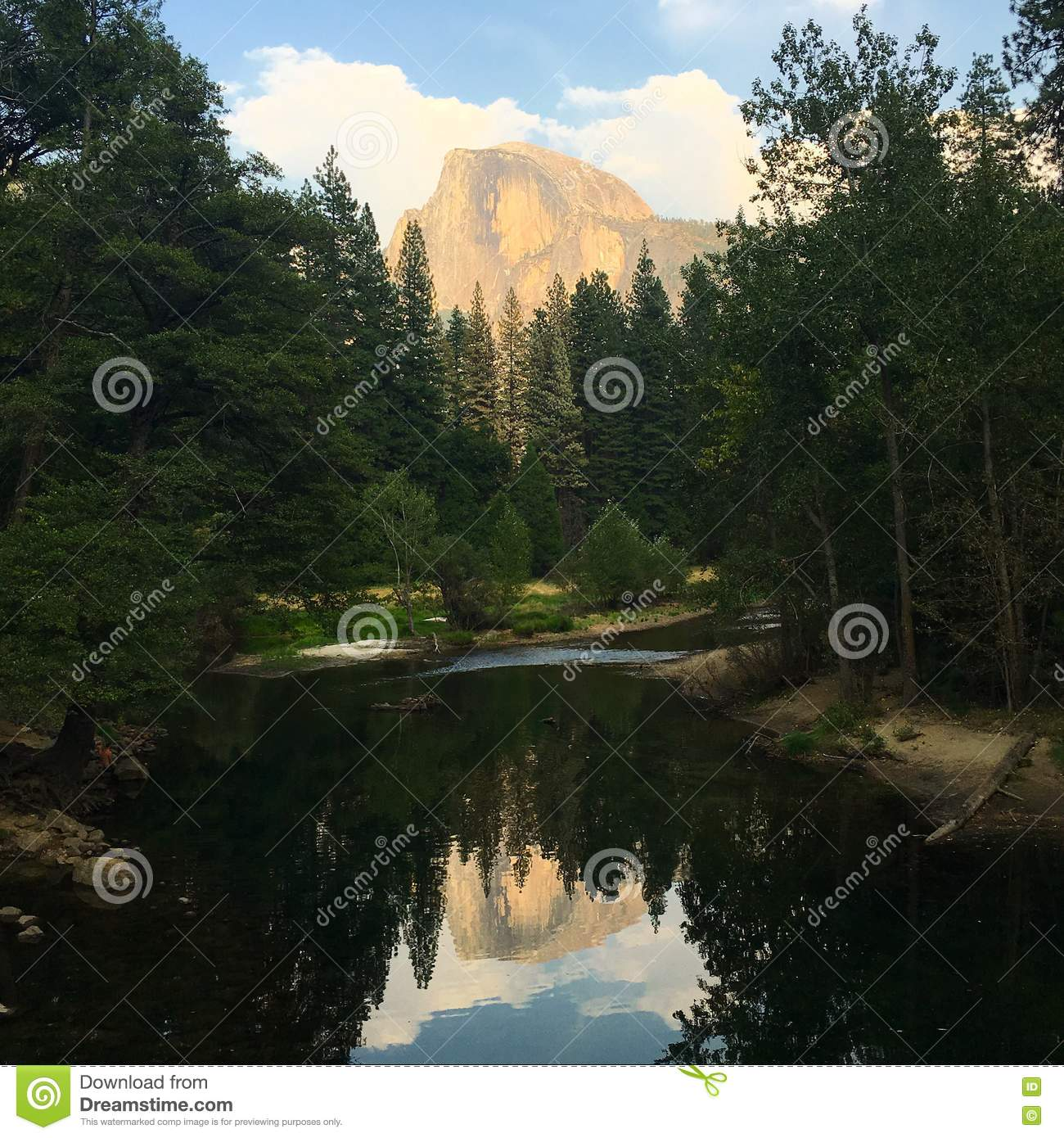 Download Half Dome Reflection stock image. Image of woods, exterior - 78474129