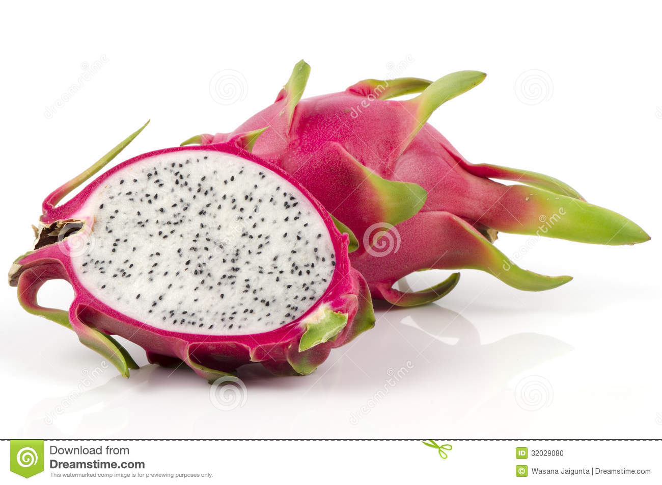 Half Dragon Fruit Isolated On White Background Stock Photo ...