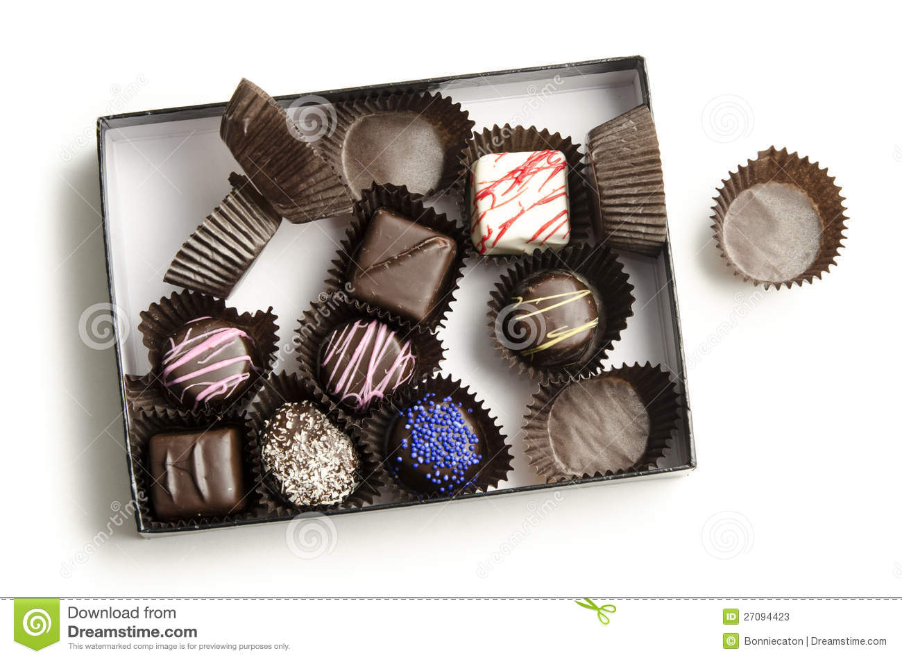 Half Eaten Box Of Chocolates Stock Image Image Of Dark